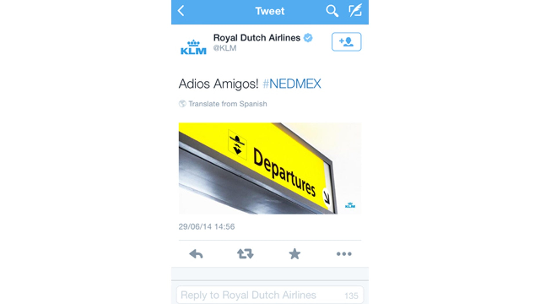 June 29, 2014: A screenshot of the KLM twitter account shows a tweet that appeared shortly after the Netherlands defeated Mexico in the World Cup in Brazil  (AP Photo/KLM twitter account)