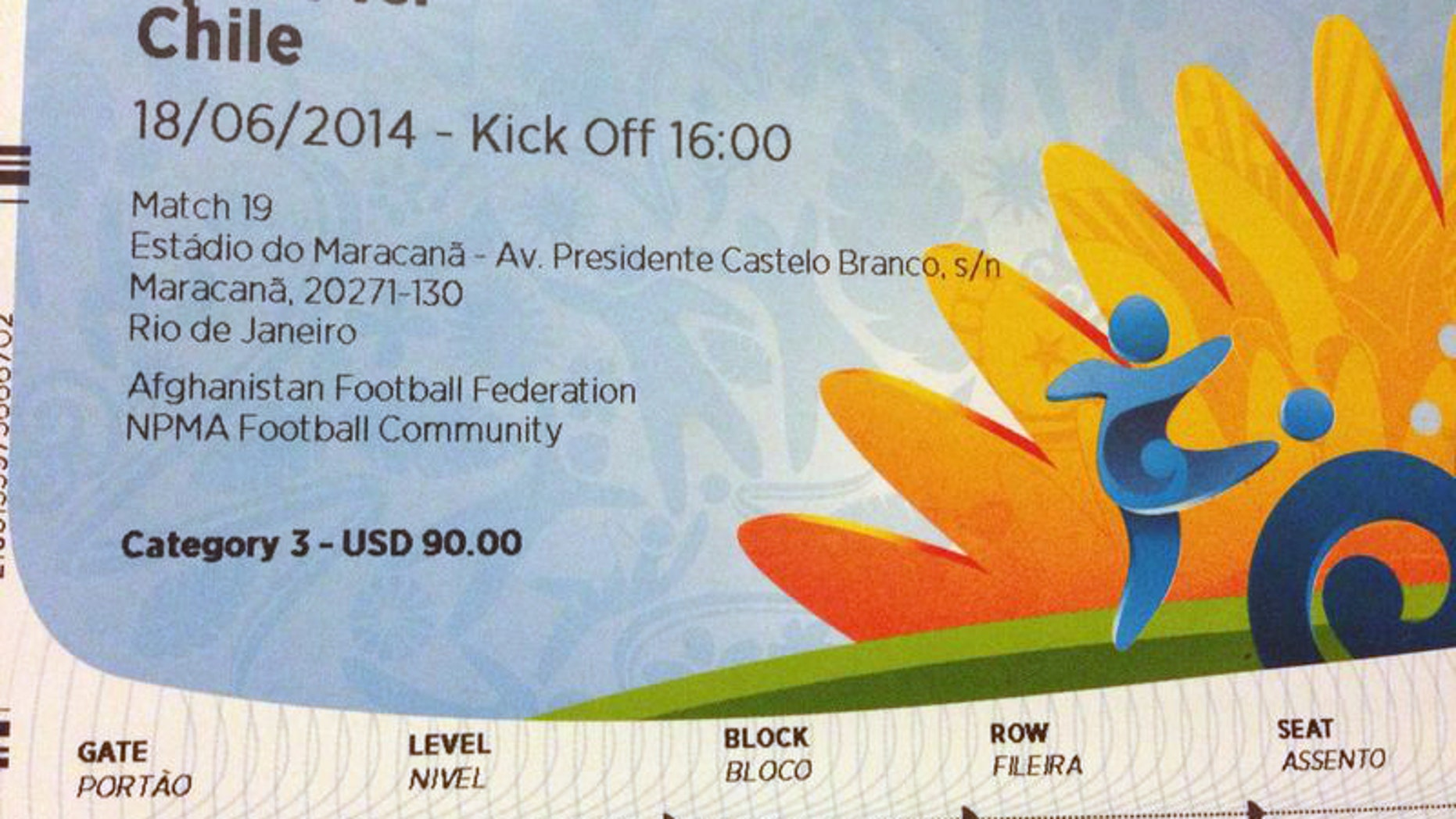 """This June 4, 2014 photo shows a $90 U.S. dollar FIFA ticket for the Spain vs. Chile World Cup game, bought by a fan on Stubhub.com, a website that connects buyers and sellers, for $775 U.S. dollars, in San Juan, Puerto Rico. Brazilian police have widened their investigation into ticket scalping at the World Cup to include """"the participation of someone from FIFA"""" as a source of tickets being resold on the street for many time their face value. (AP Photo)"""