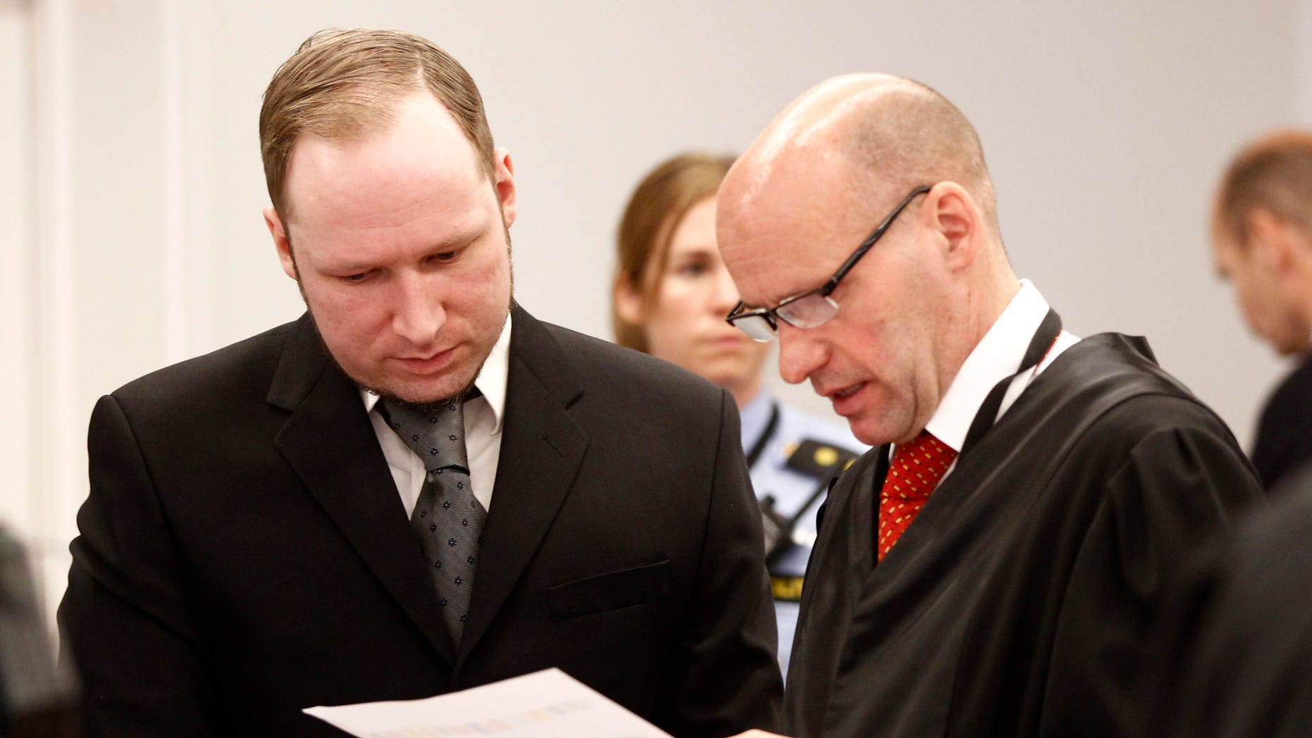 April 23: Anders Behring Breivik (left), and his defence lawyer Geir Lippestad during the morning break on day 6 of the trial in Oslo.