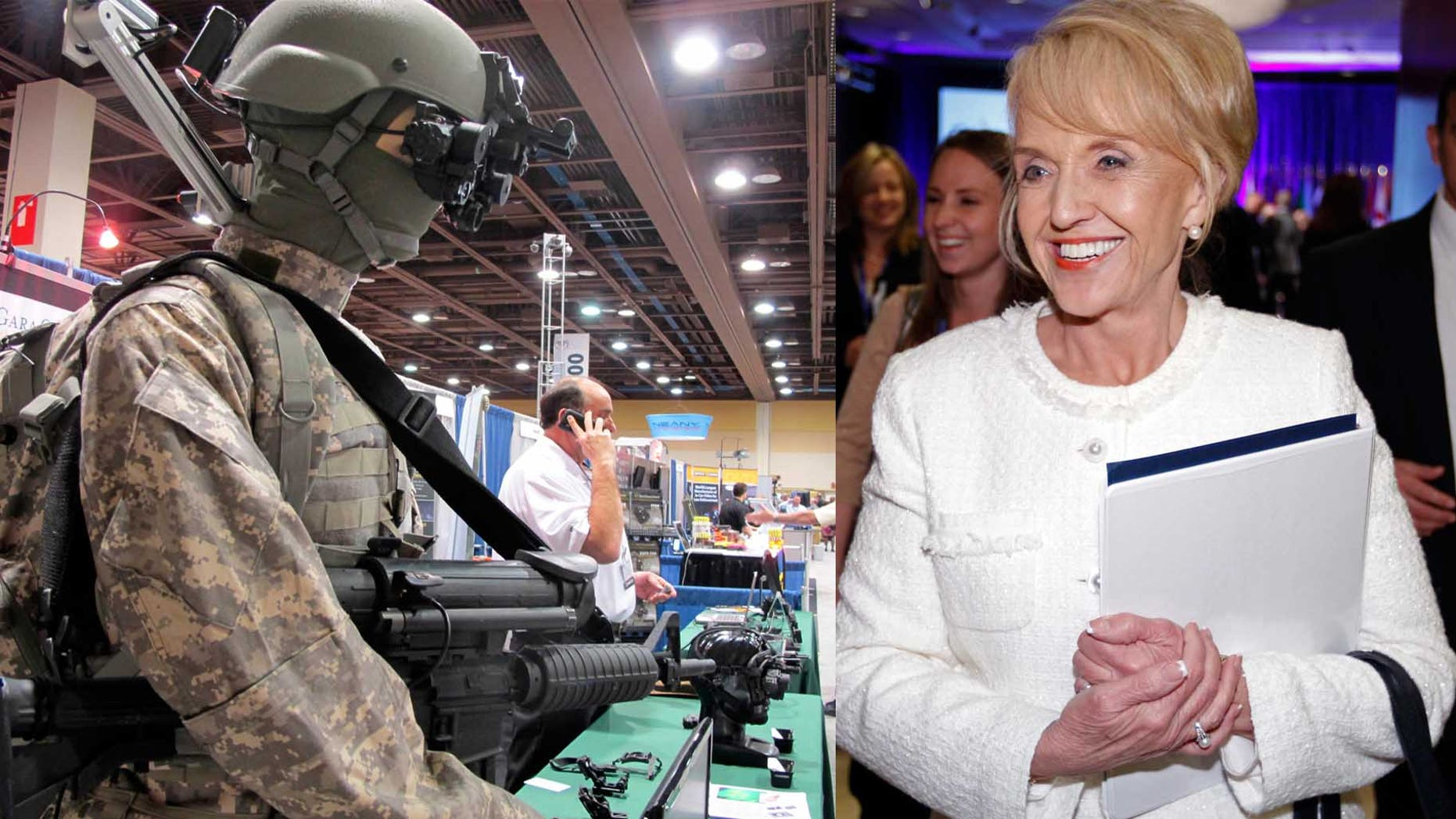 A piece of new technology at the Border Expo pictured left. Arizona Governor Jan Brewer pictured at the right. (FILE PHOTO)