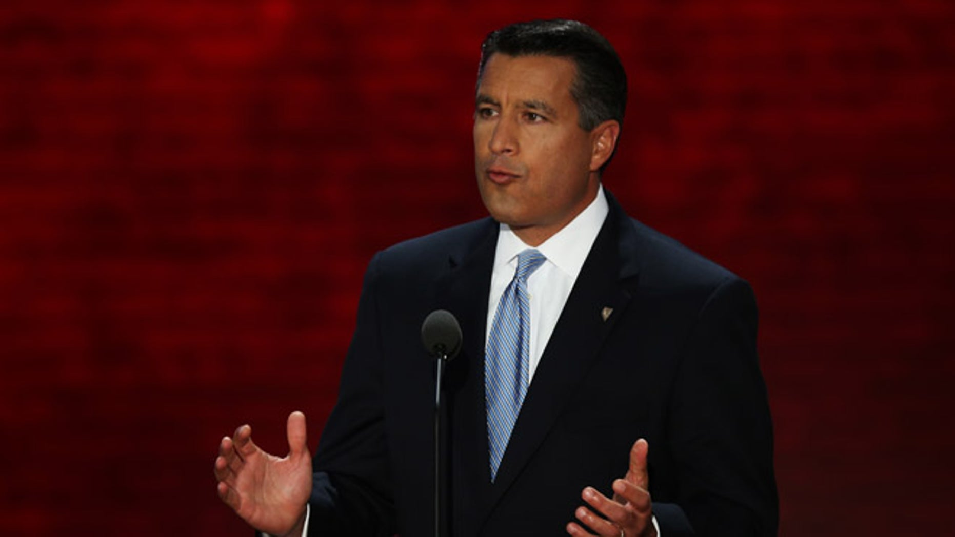 TAMPA, FL - AUGUST 28:  Nevada Gov. Brian Sandoval speaks during the Republican National Convention at the Tampa Bay Times Forum on August 28, 2012 in Tampa, Florida. Today is the first full session of the RNC after the start was delayed due to Tropical Storm Isaac.  (Photo by Mark Wilson/Getty Images)