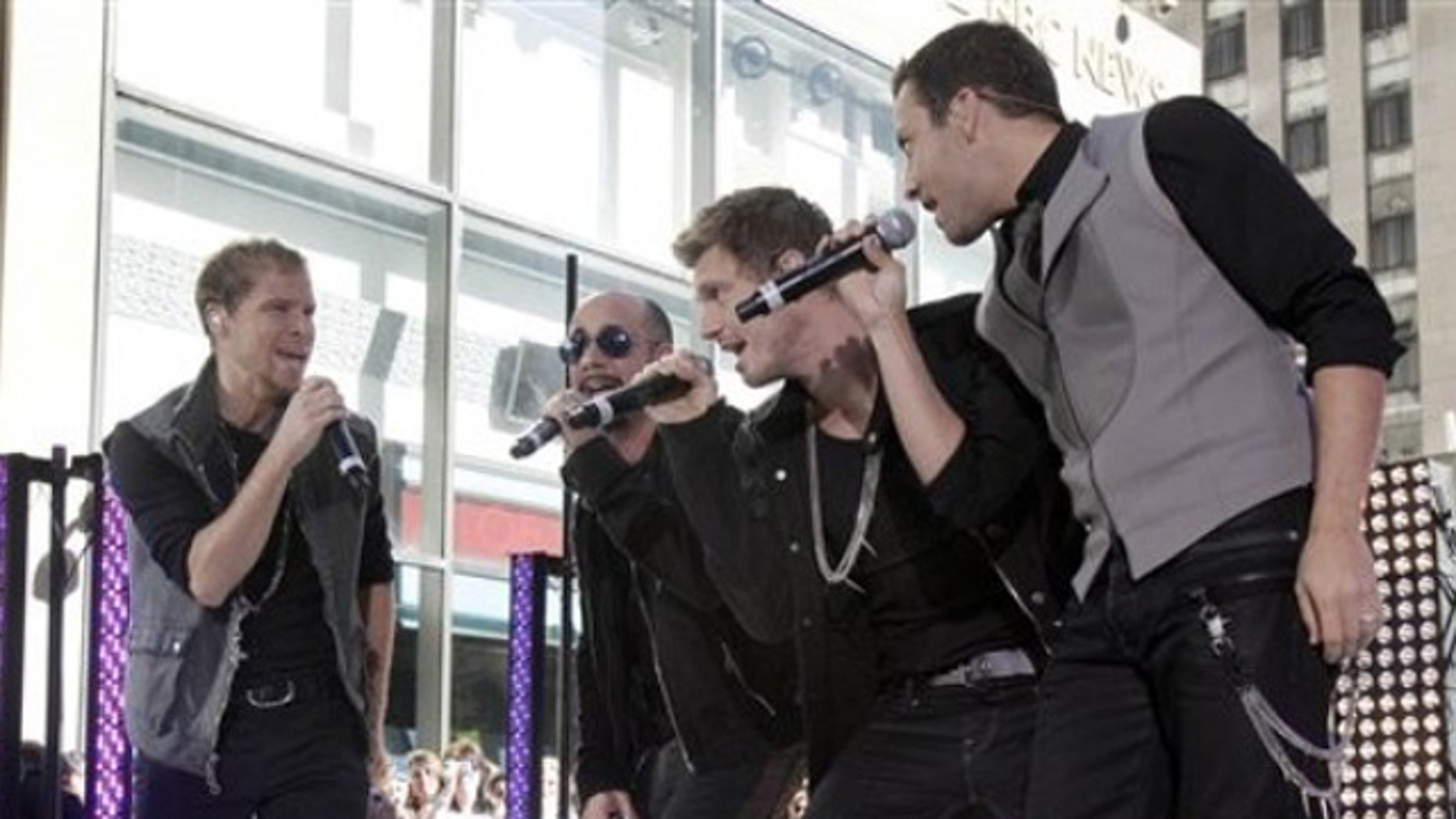 """June 3, 2011: Backstreet Boys, from left, Brian Littrell, AJ McLean, Nick Carter, and Howie Dorough perform on the NBC """"Today"""" television program in New York."""