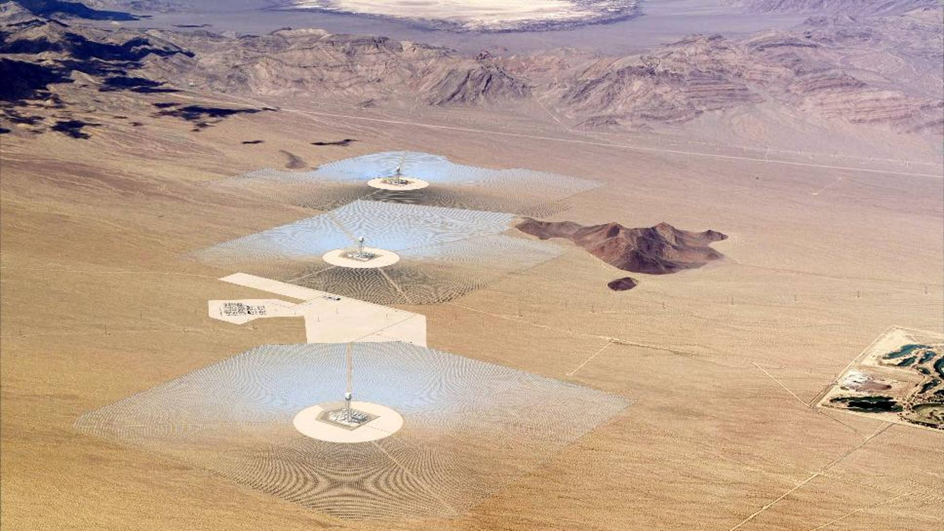 A model rendering of BrightSource Energy's Ivanpah Solar Power Complex.