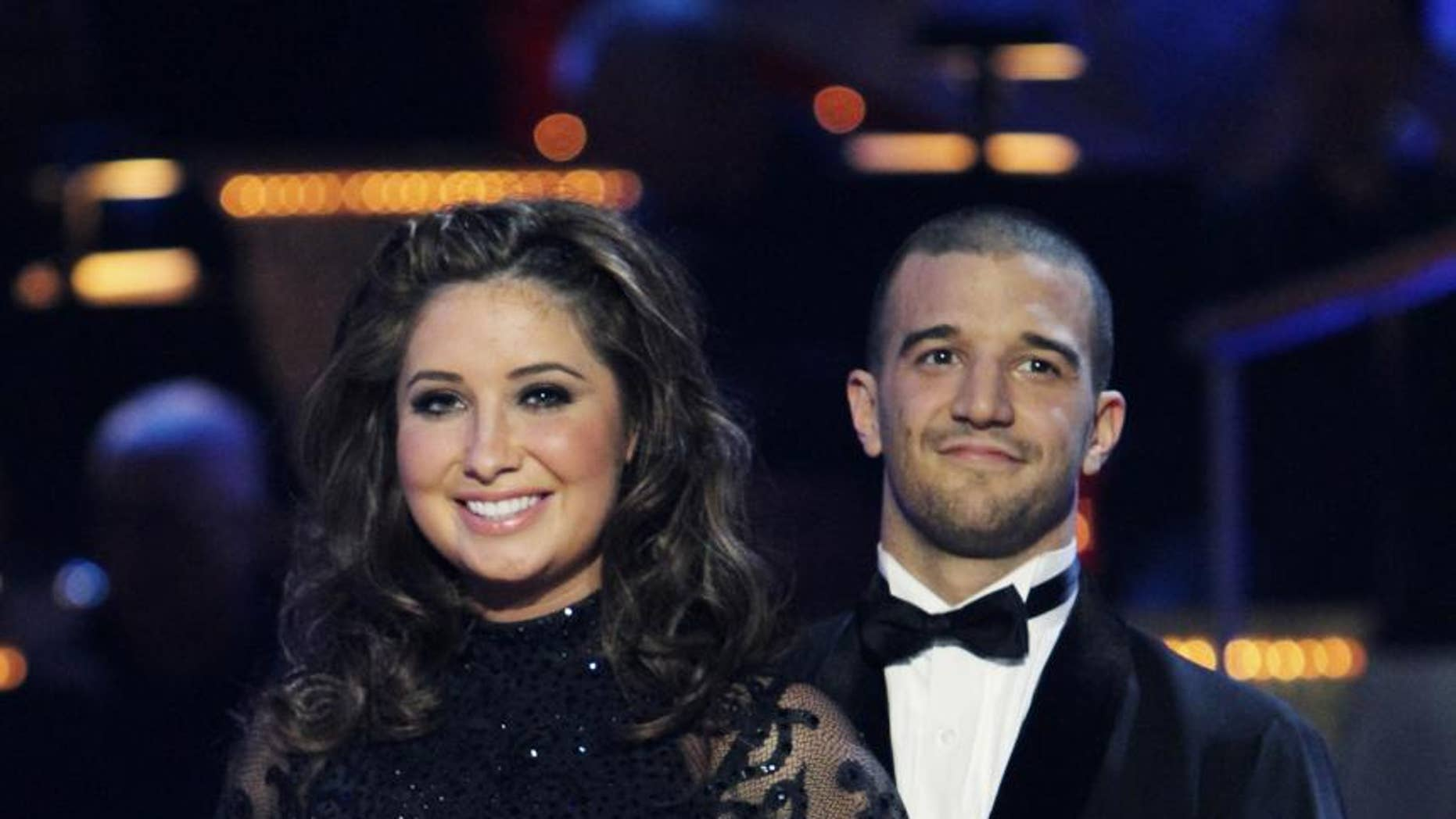 "In this publicity image released by ABC, Bristol Palin, left, and her partner Mark Ballas are shown after their performance on the celebrity dance competition series, ""Dancing with the Stars,"" on Monday, Nov. 22, 2010 in Los Angeles. (AP Photo/ABC, Adam Larkey)"