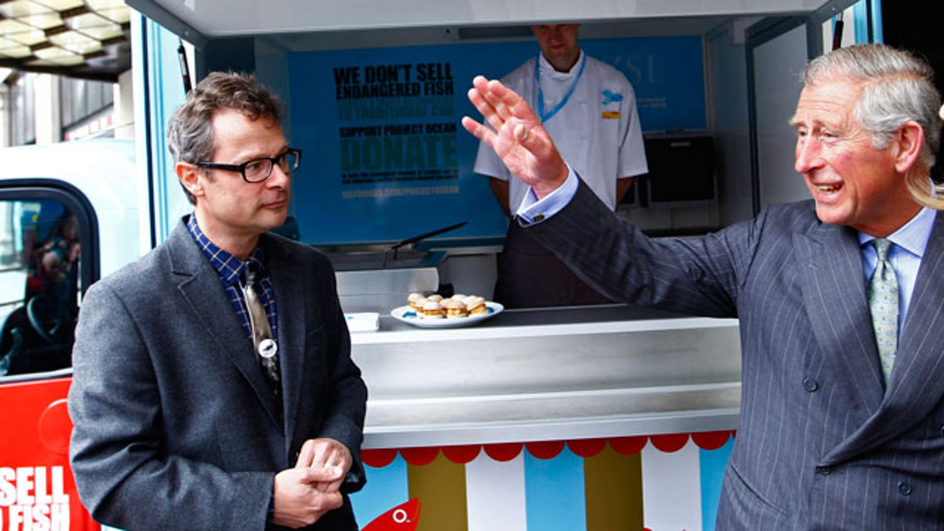 British chef Hugh Fearnley-Whittingstall (left) talks to Prince Charles (Reuters)