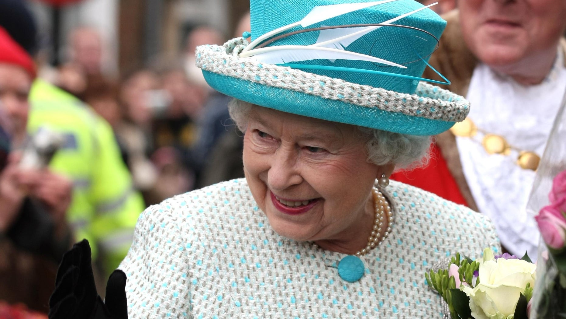 Feb. 6, 2012: Britain's Queen Elizabeth II, waves to wellwishers during a visit to Kings Lynn Town Hall in eastern England .