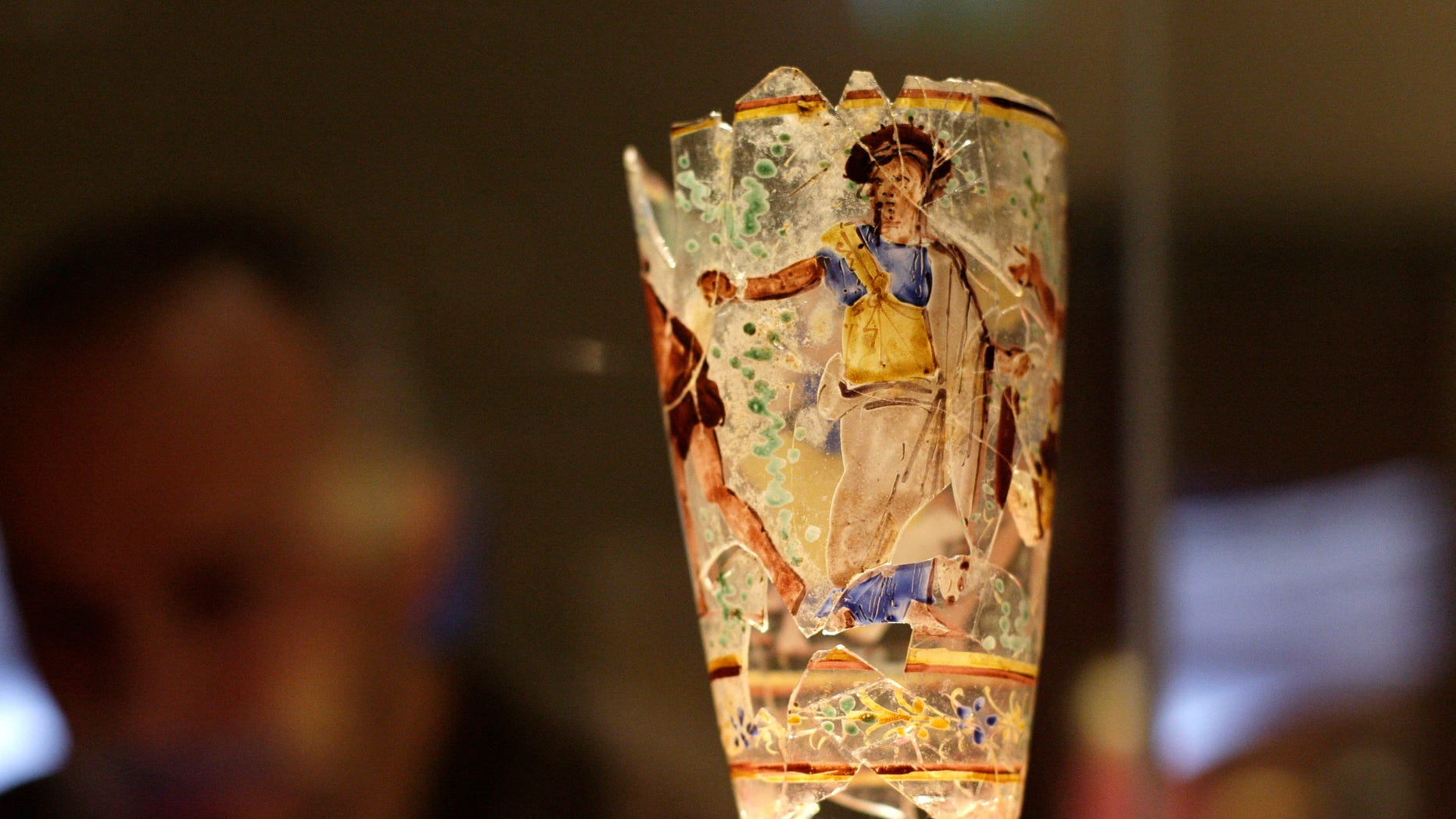 March 1: A 1st century AD Roman Egyptian enameled glass goblet discovered in Begram, Afghanistan, is seen on display in an exhibition entitled 'Afghanistan: Crossroads of the Ancient World', at the British Museum in London. The exhibition is showcasing over 200 objects belonging to the National Museum of Afghanistan accompanied by select items from the British Museum.
