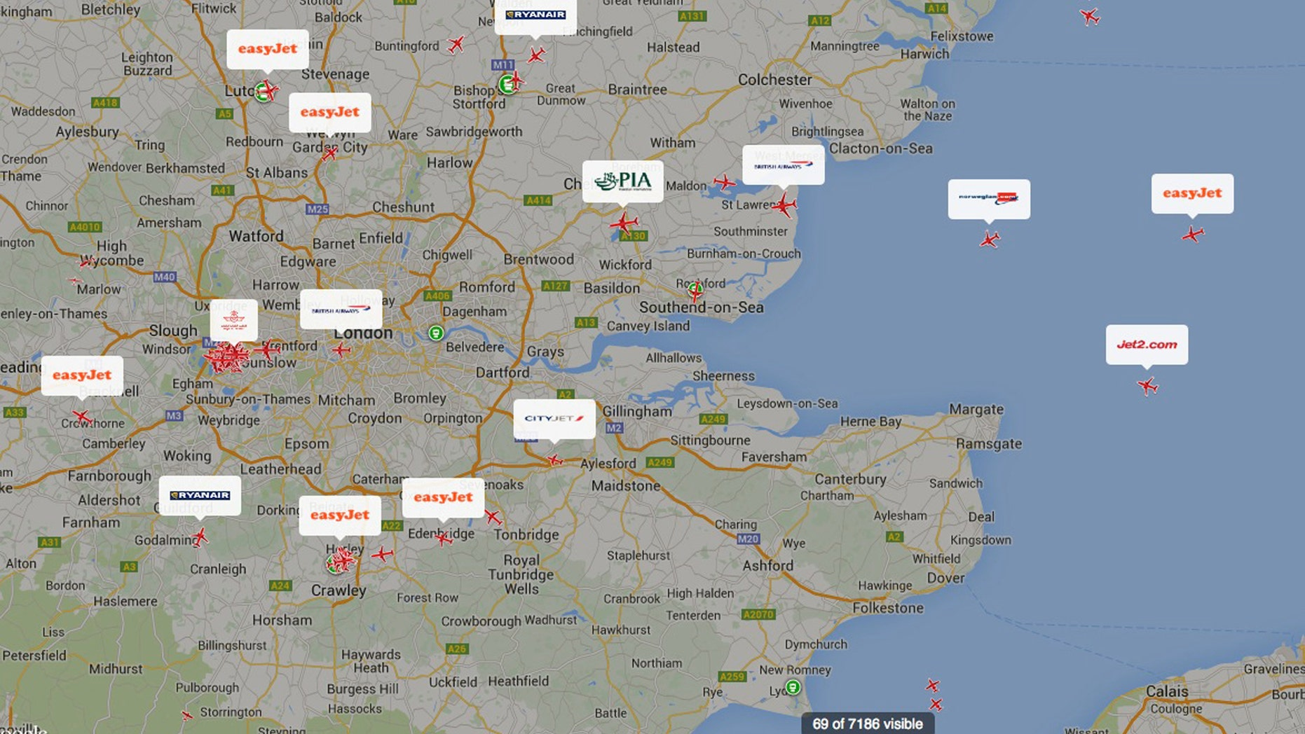 Dec. 12, 2014 - A screen shot taken from planefinder.net of aircraft approaching British airspace Friday. The European air control agency Eurocontrol says London airspace was closed due to a computer failure. Officials at London Heathrow Airport said Friday there was a power outage at the NATS control center in Swanwick, England but the problems were fixed about 35 minutes later. The agency said its operations were in the process of returning to normal but would not say how long that would take.