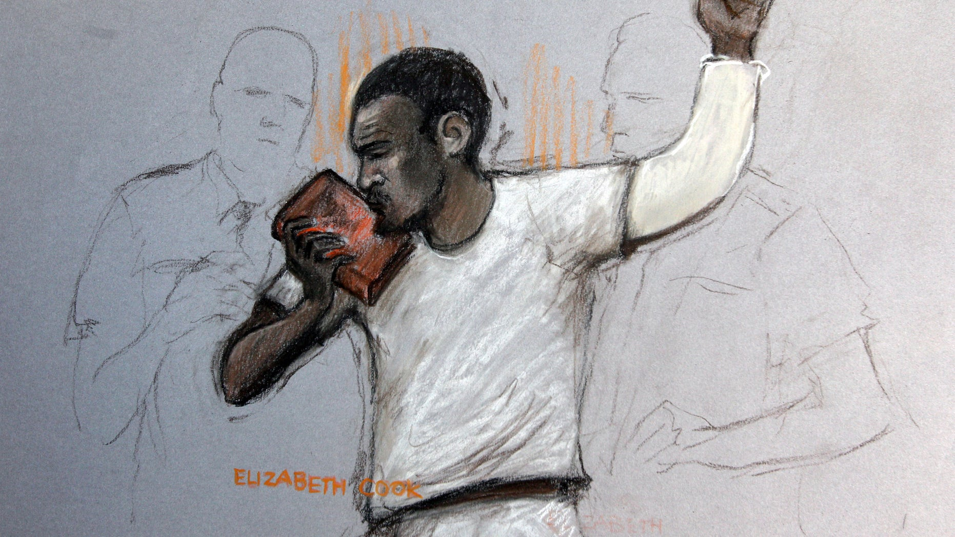 June 3, 2013 - In this court artist sketch by Elizabeth Cook, suspect Michael Adebolajo kisses the Koran, as he appears at Westminster Magistrates Court,  London.