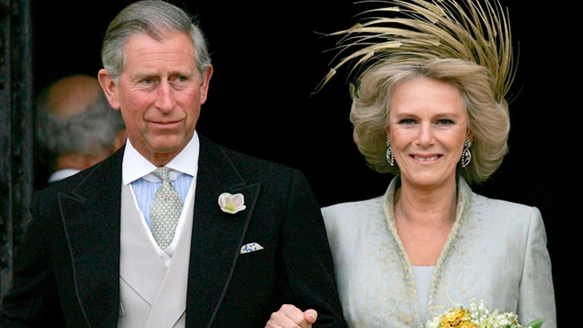 April 9, 2005 Prince Charles and his bride Camilla  Duchess of Cornwall as they leave St George's Chapel in Windsor, England following the church blessing of their civil wedding ceremony.