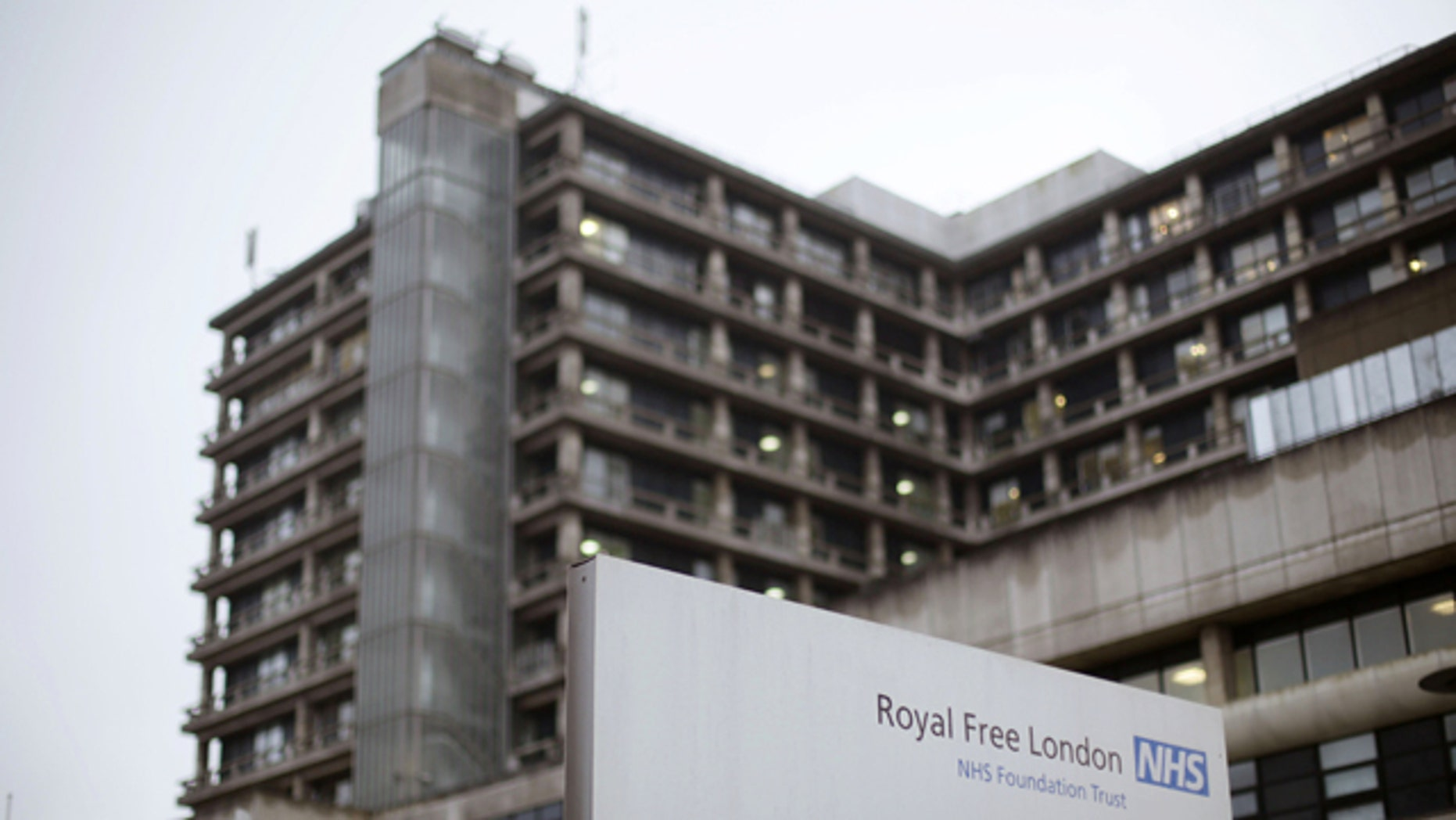 Jan. 3, 2015: The Royal Free Hospital in Hampstead. Pauline Cafferkey, the first person diagnosed with Ebola on British soil, is being treated in an isolation unit with an experimental antiviral drug and with plasma from a recovered patient containing Ebola-fighting antibodies. (AP Photo/PA, Yui Mok)