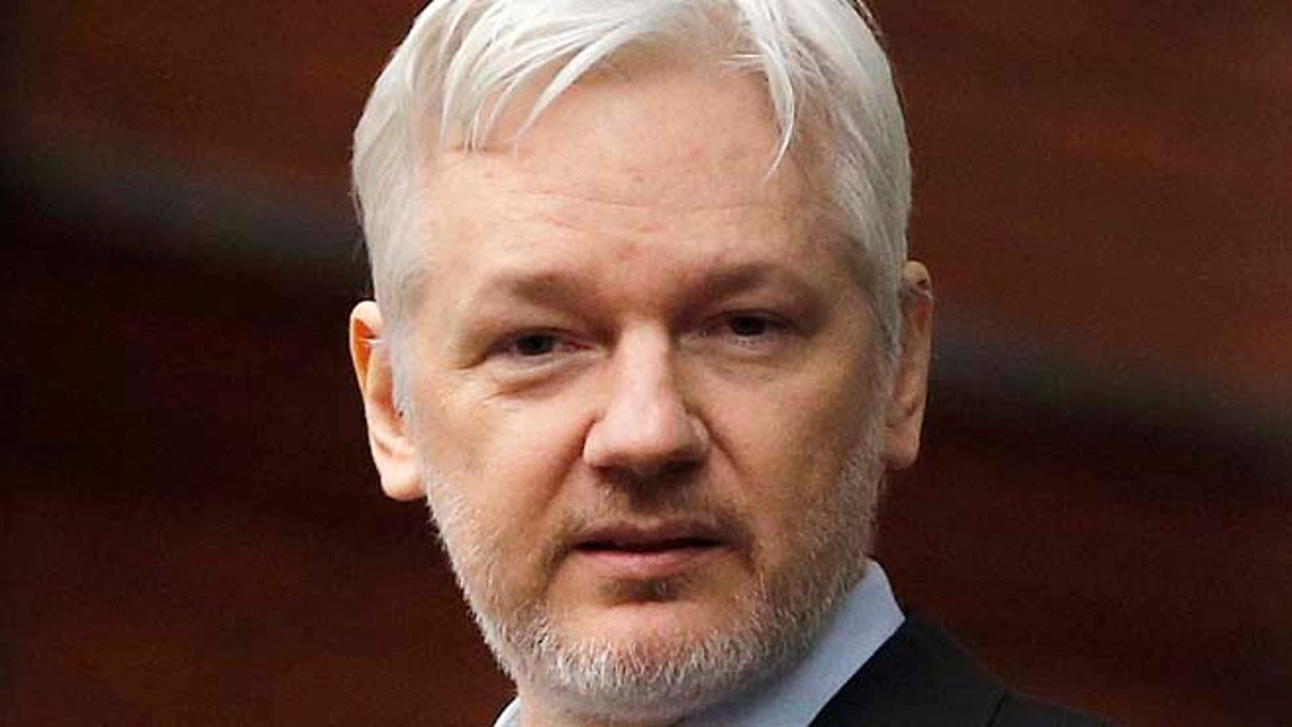 Julian Assange on the balcony of the Ecuadorean Embassy in London on Feb. 5, 2016.