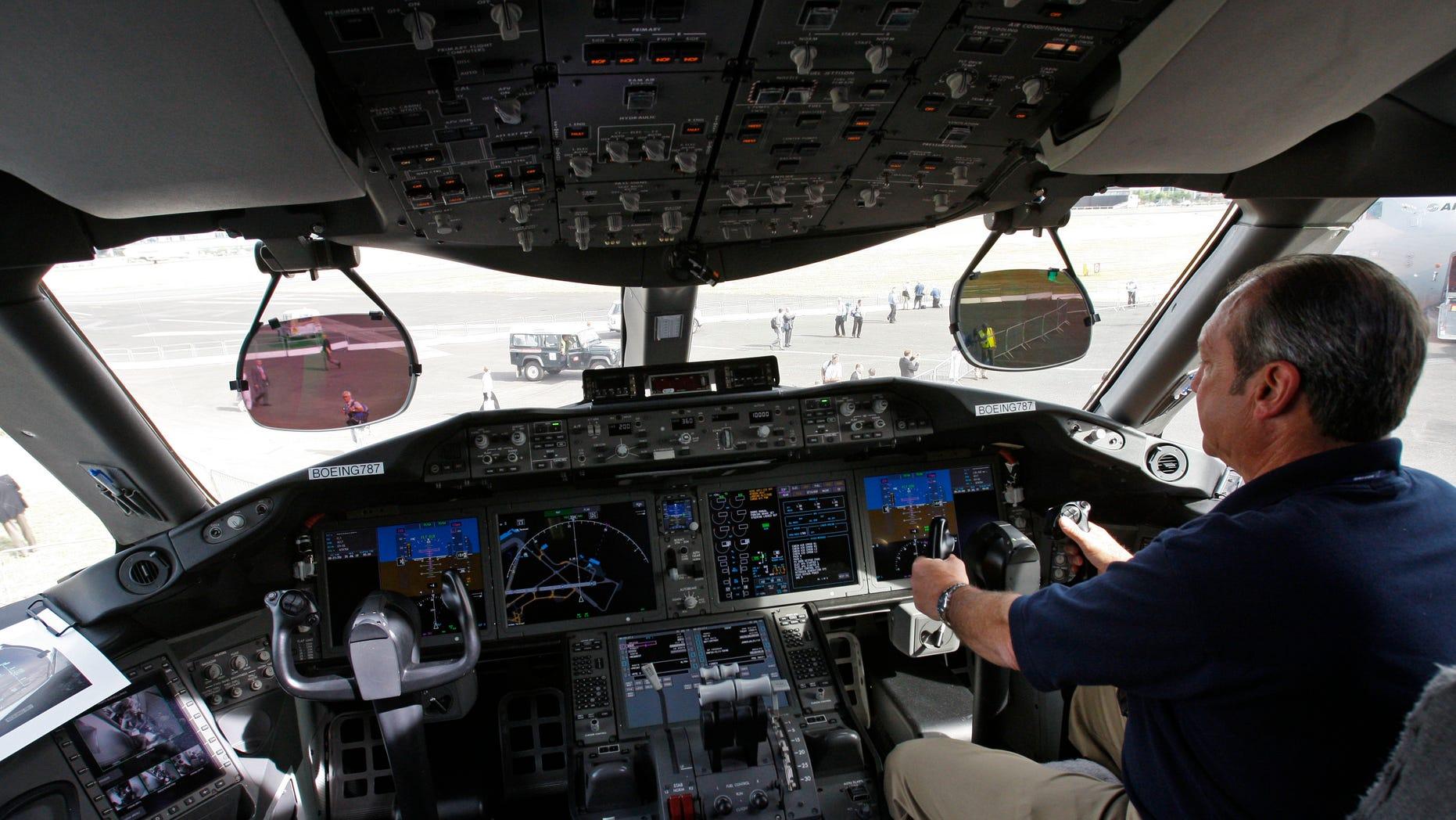 A Boeing 787 cockpit