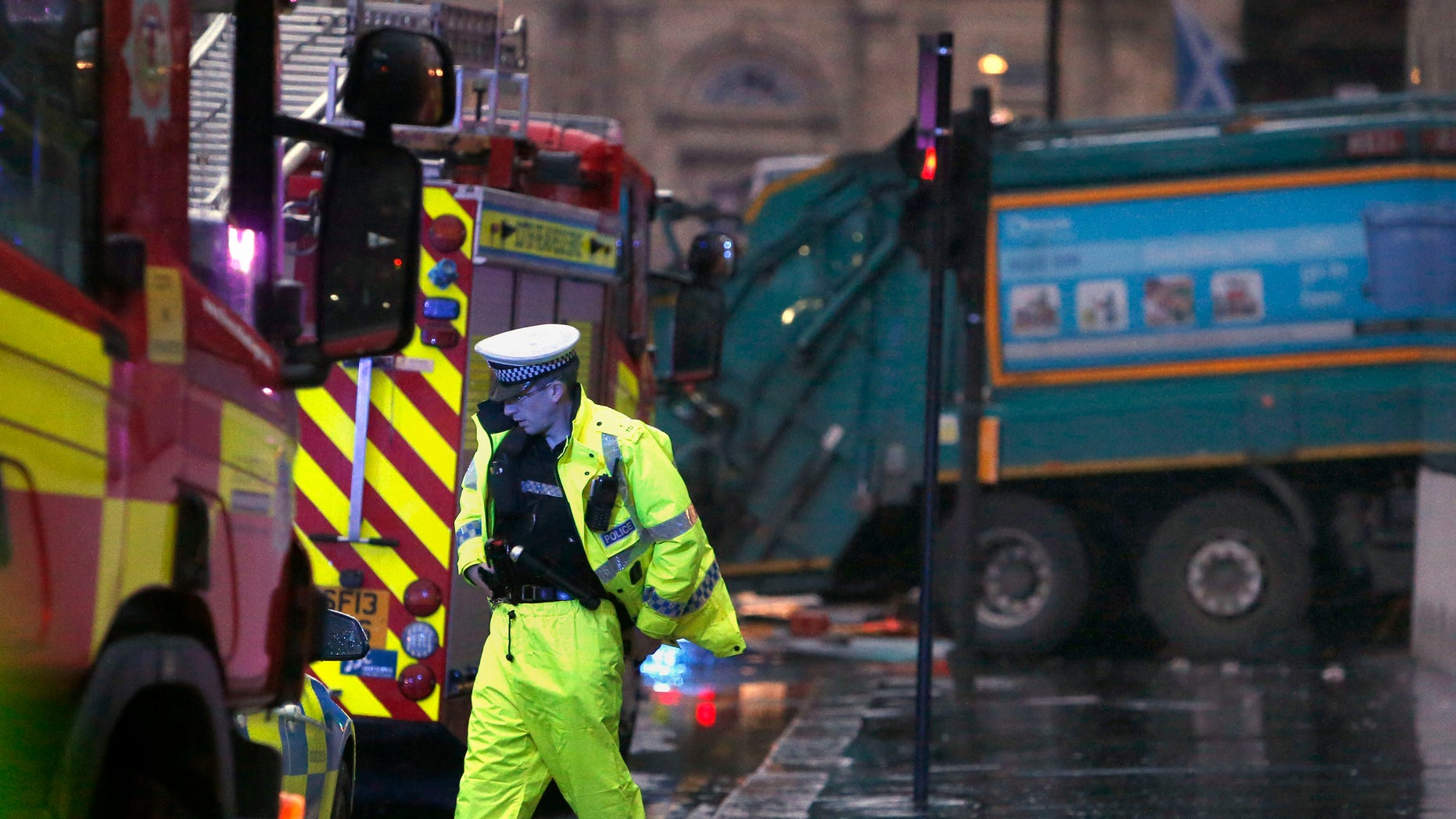 Dec. 22, 2014 - The scene in George Square in Glasgow Scotland  after a garbage truck crashed into a group of pedestrians. Emergency services responded to the incident in the central part of the city.