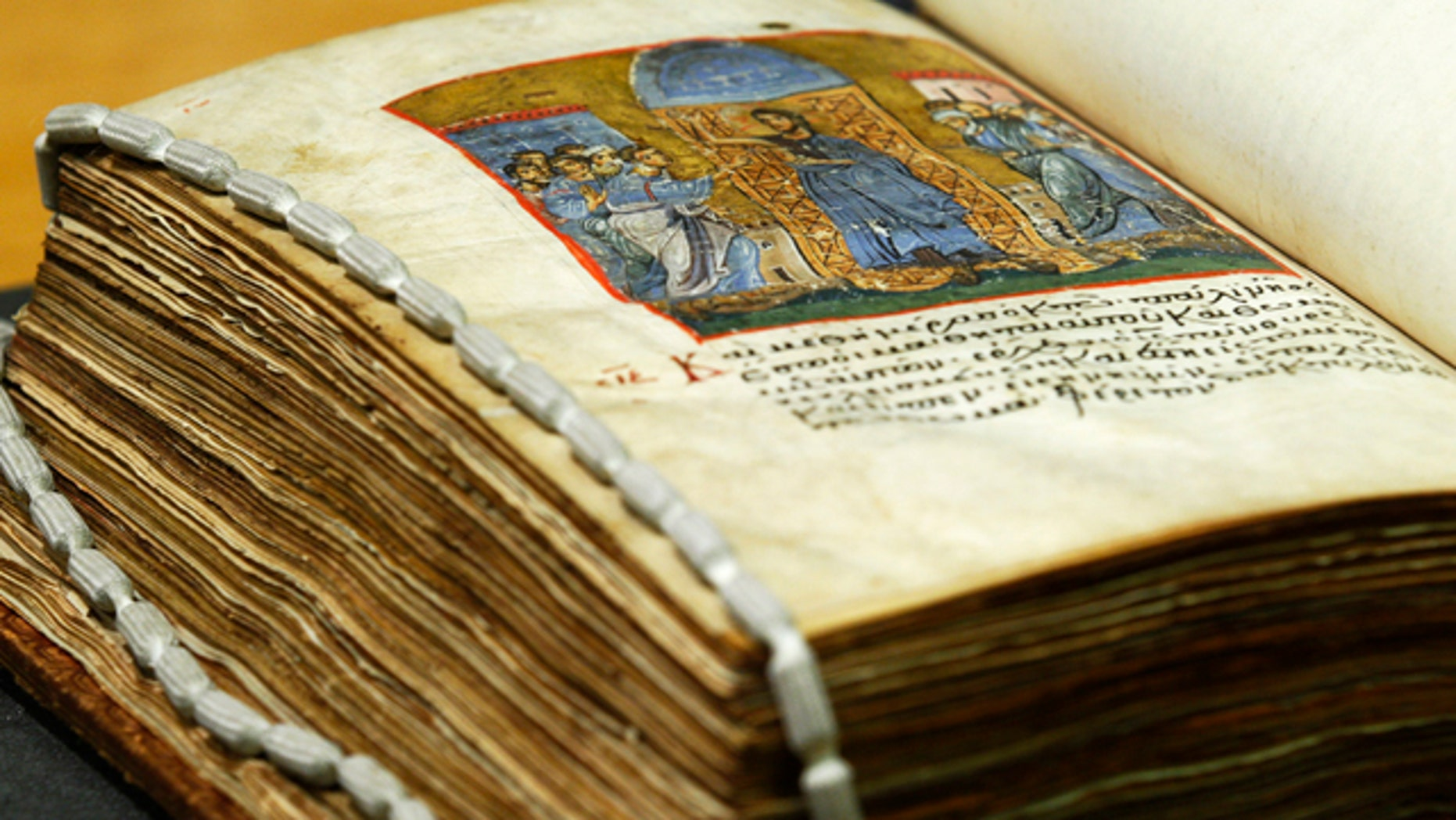 A late 12th century illuminated gospels manuscript in Greek, which has been digitized, is seen at the British Library in London, Friday, Sept. 24, 2010. British Library has digitized over a quarter of its Greek manuscripts (284 volumes) for the first time and made them freely available online.