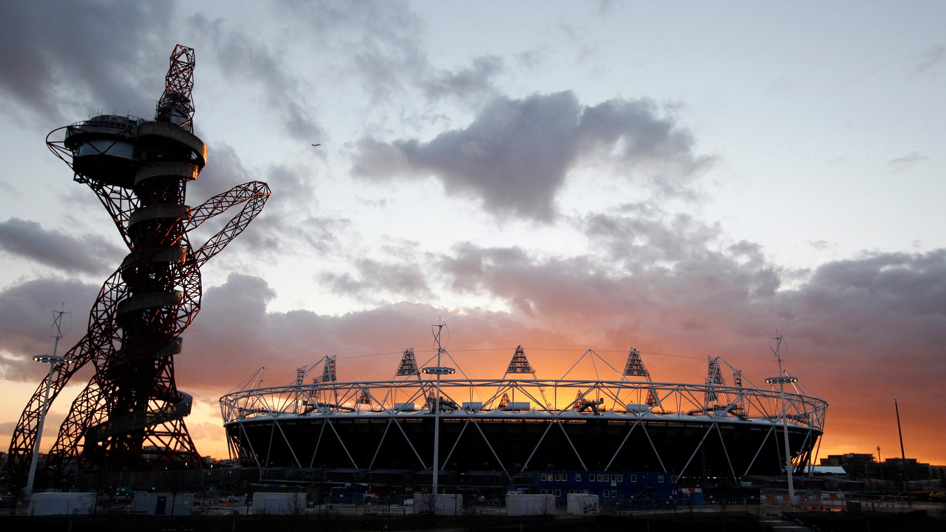 March 7, 2012: This file photo shows the London 2012 Olympic Stadium  at sunset at the Olympic Park in London.