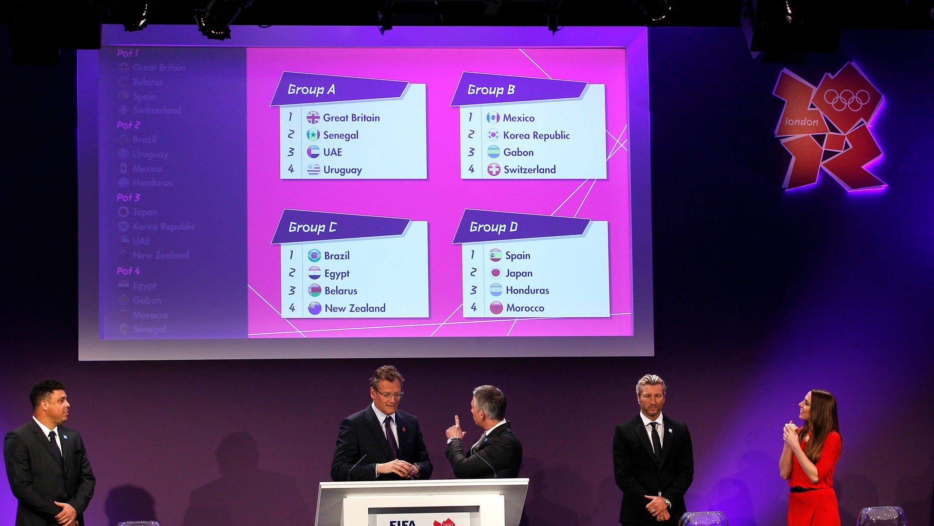 The draw for the London 2012 Olympic soccer tournament takes place at Wembley Stadium in London,  Tuesday, April 24, 2012. (AP Photo/Kirsty Wigglesworth)