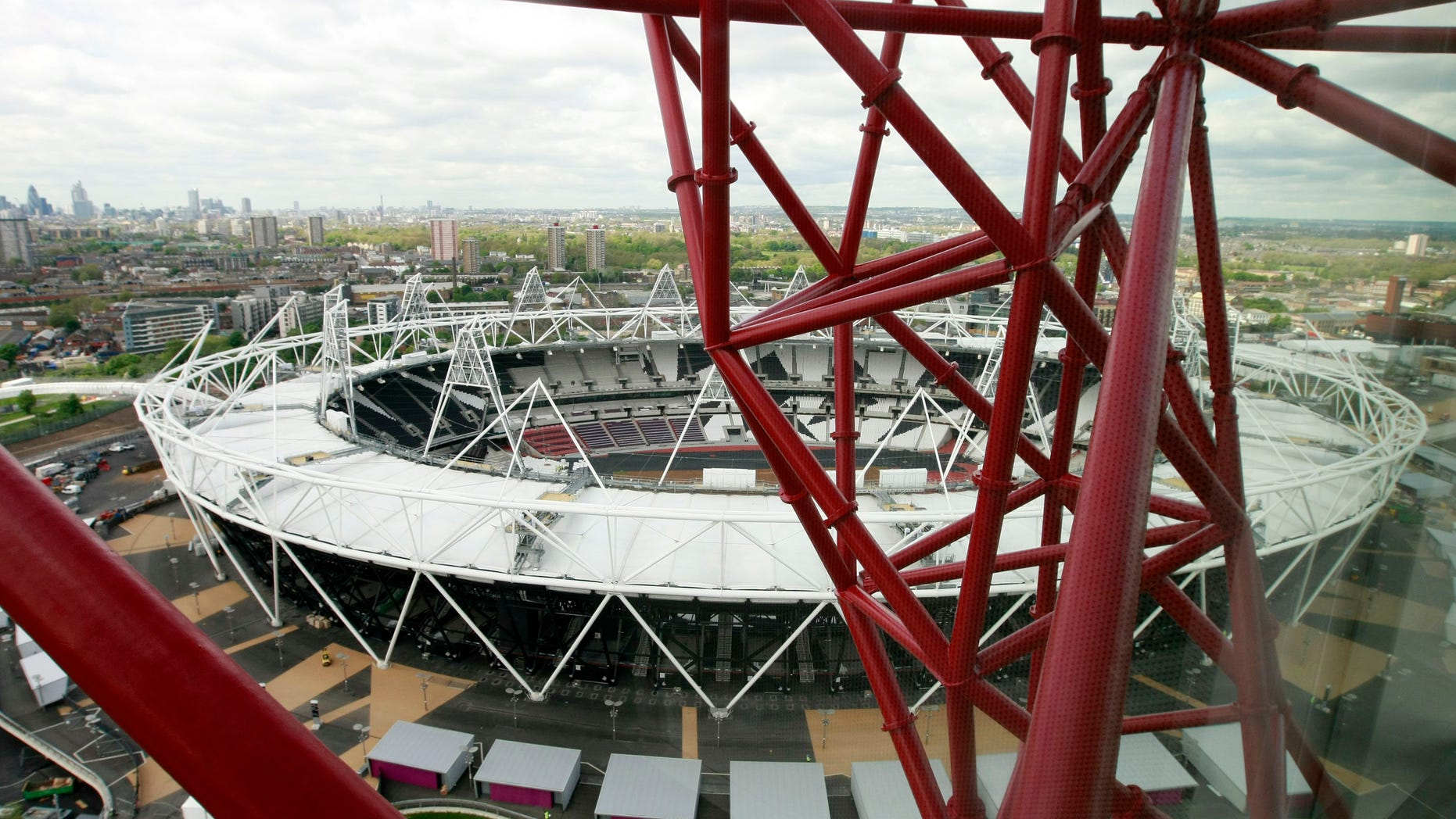 May 11, 2012: A view of the Olympic Stadium from the ArcelorMittal Orbit sculpture during the official unveiling at the Olympic Park, London, Friday.