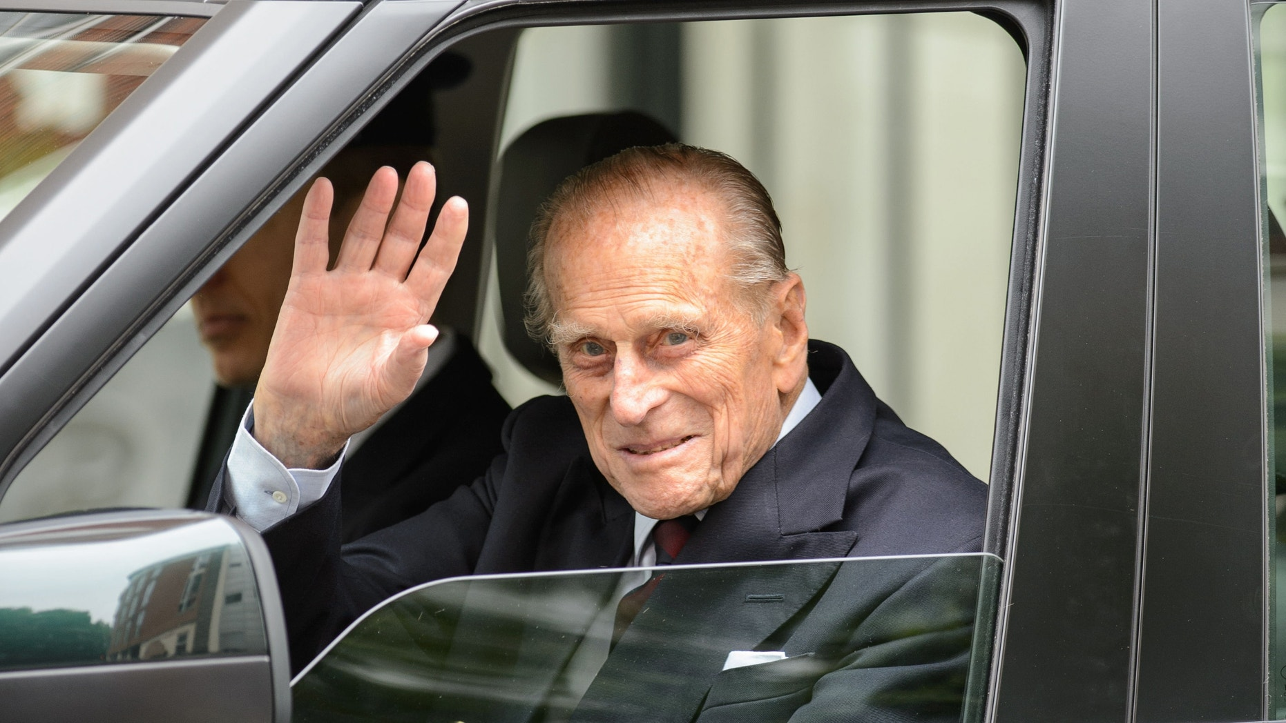 June 17, 2013 - Britain's Prince Philip leaves the London Clinic in central London, Monday . The husband of Queen Elizabeth II, who turned 92 last week walked out 10 days after undergoing exploratory surgery on his abdomen.