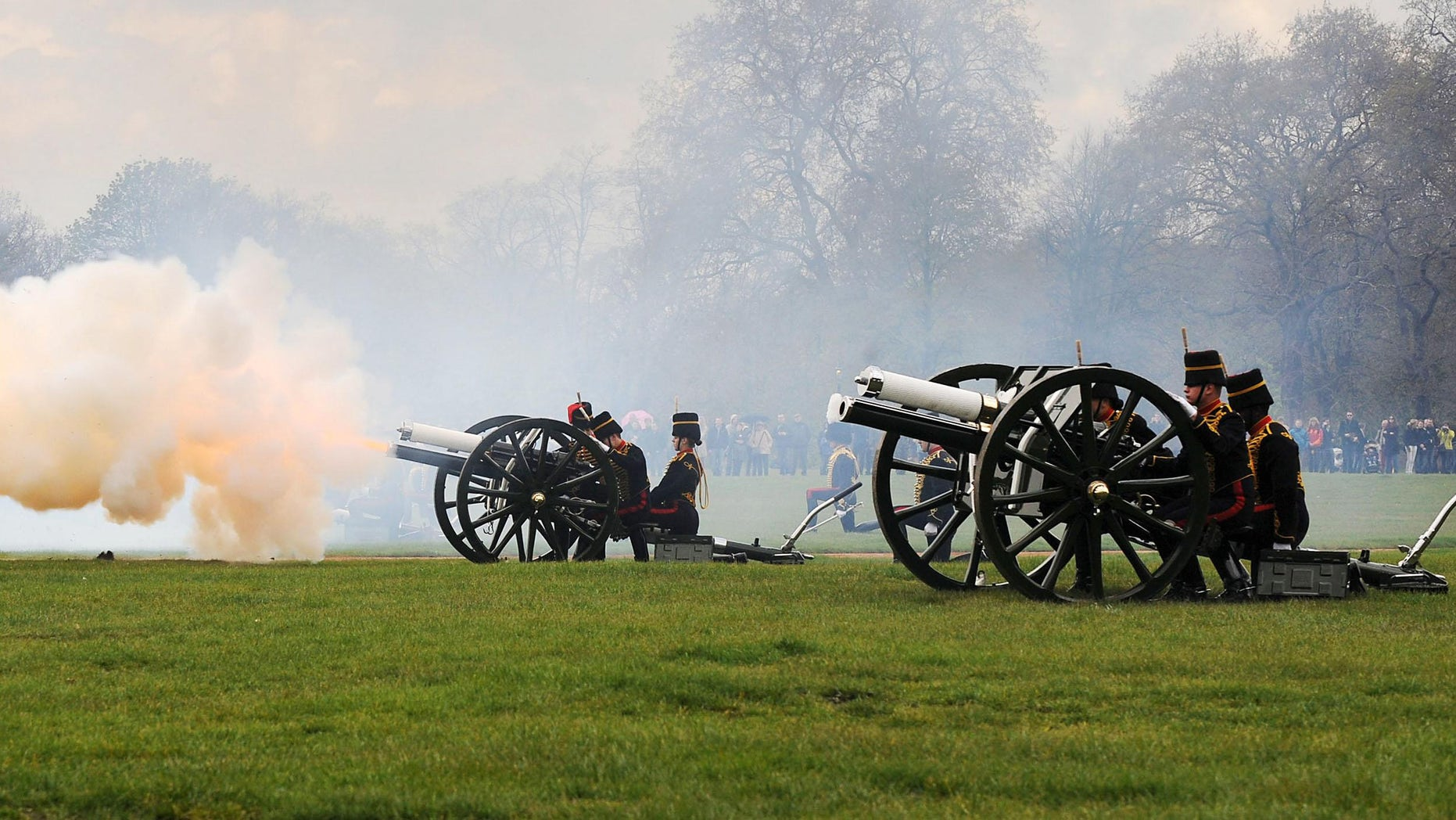 This photo made available by Britain's Ministry of Defence shows the King's Troop Royal Horse Artillery firing a 41 gun salute to mark Queen Elizabeth II's 86th birthday in Hyde Park, London, Saturday April 21, 2012. (AP Photo/Ministry of Defence/RLC, Sergeant Steven Hughes)
