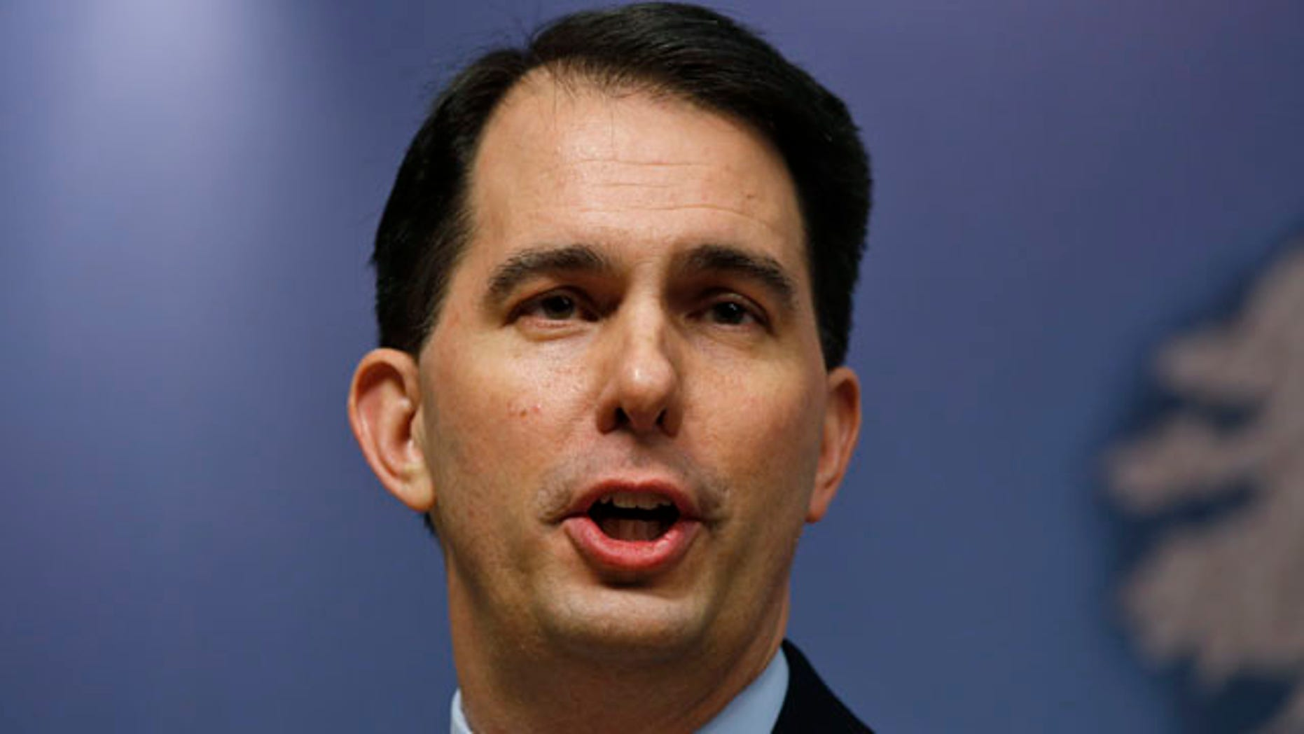 Feb. 11, 2015: Wisconsin Gov. Scott Walker delivers a speech at Chatham House in central London. (AP Photo/Lefteris Pitarakis)