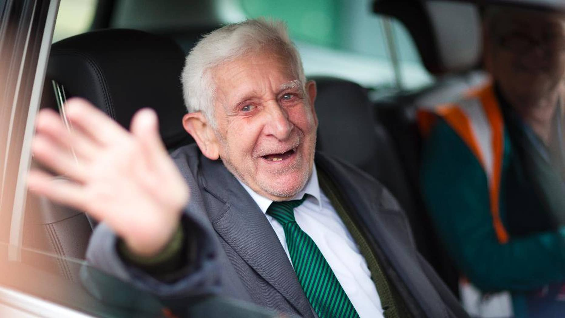 FILE - This is a June 7, 2014  file photo  of  Bernard Jordan, the war veteran found in Normandy after being reported missing from his care home. A British nursing home said an ex-naval officer who gained attention after vanishing from his care facility and taking an impromptu bus ride to France to attend D-Day commemorations has died. Bernard Jordan was 90. Gracewell Healthcare confirmed Jordan's death on Tuesday Jan. 6, 2015. (AP Phto/Chris Ison/PA, File)