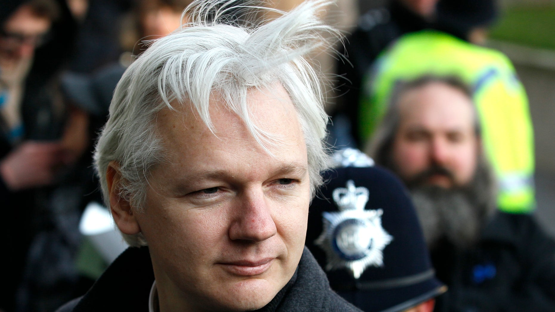Feb. 1, 2012: Julian Assange, WikiLeaks founder, arrives at the Supreme Court in London.  Ecuador said Thursday that it was granting asylum to WikiLeaks founder Julian Assange, a decision that thrilled supporters but will do little to defuse the standoff at the Latin American nation's London embassy, where the Australian ex-hacker has been holed up for almost two months.