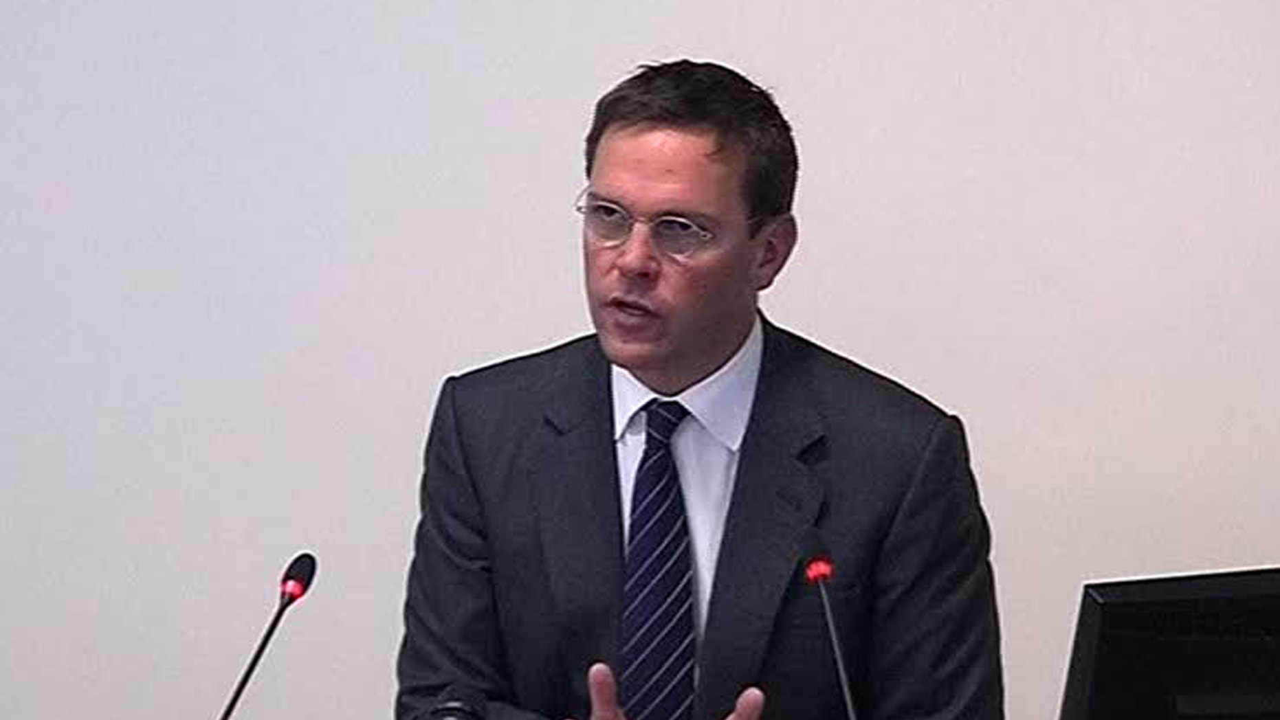 April 24, 2012: Former News International chairman James Murdoch appears at Lord Justice Brian Leveson's inquiry in London.