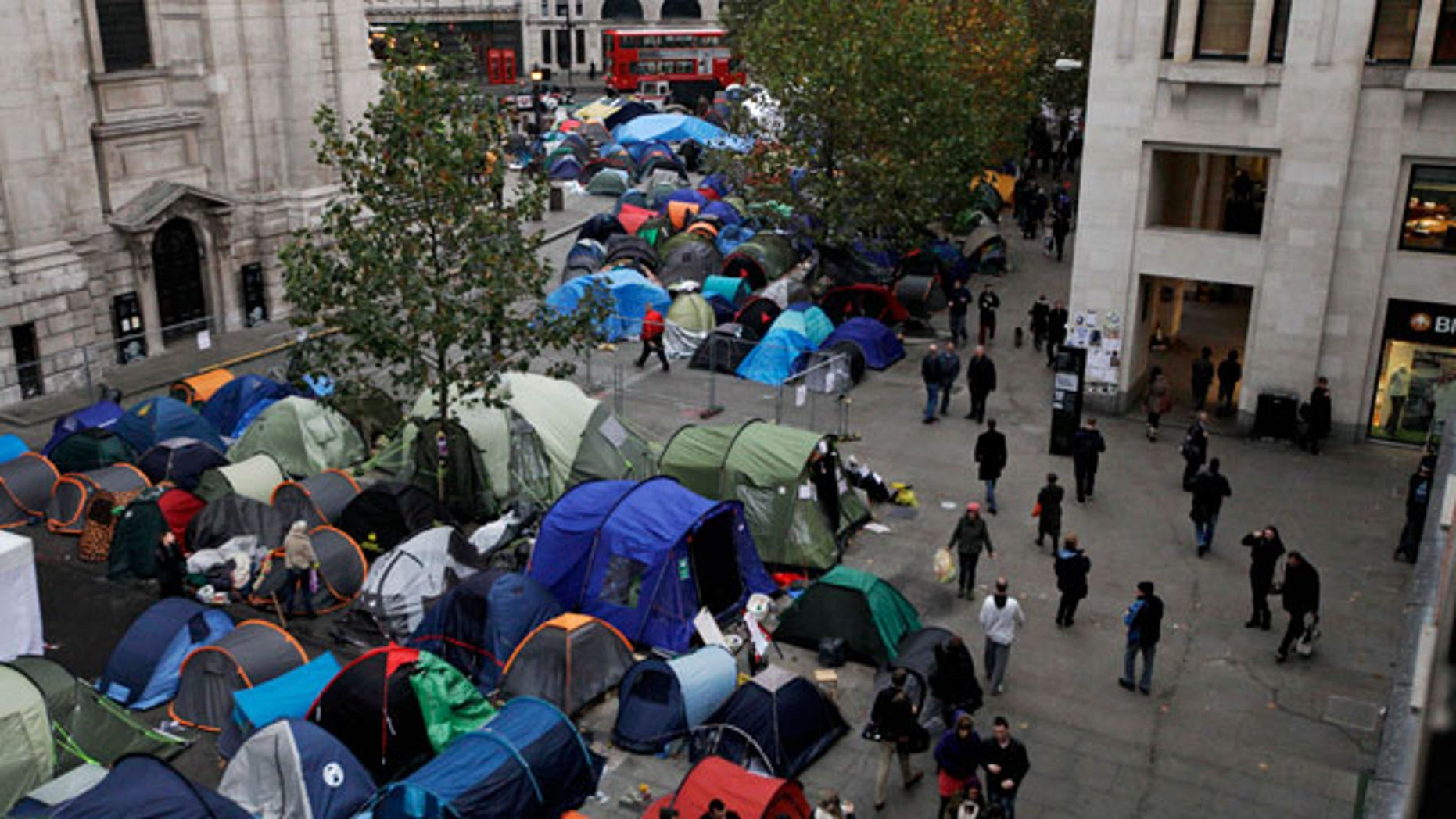 Nov. 7, 2011: Protesters tents stand outside St Paul's Cathedral in London.