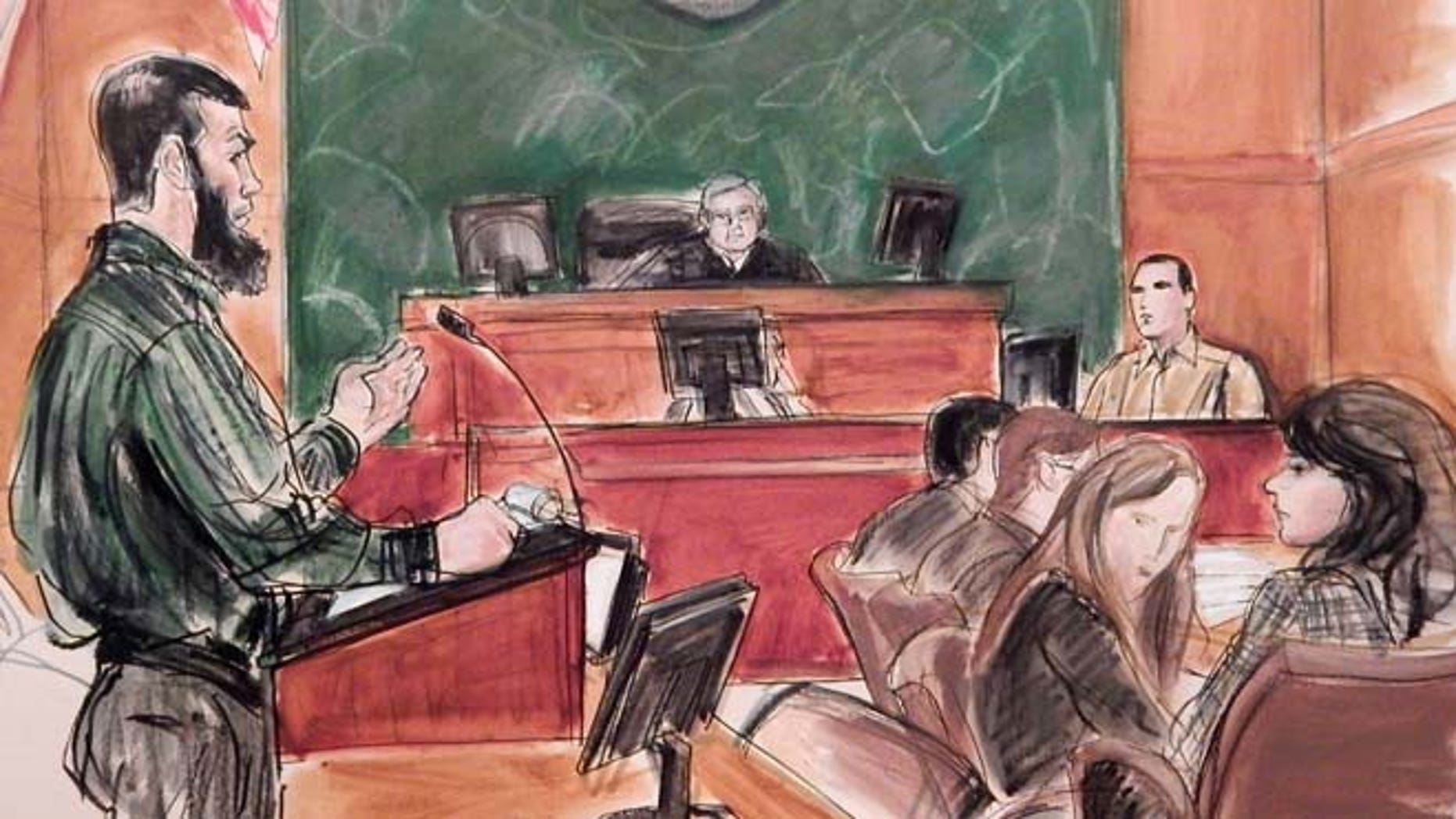 Feb. 18, 2015: In this courtroom file sketch, Abid Naseer, left, accused of being an Al Qaeda operative, questions Najibulla Zazi, center right, a cooperating government witness, as Assistant U.S. Attorney Zainab Ahmad, far right, observes Naseer, and Judge Raymond Dearie listens from the bench in federal court in the Brooklyn borough of New York, where Naseer is acting as as his own attorney. (AP)