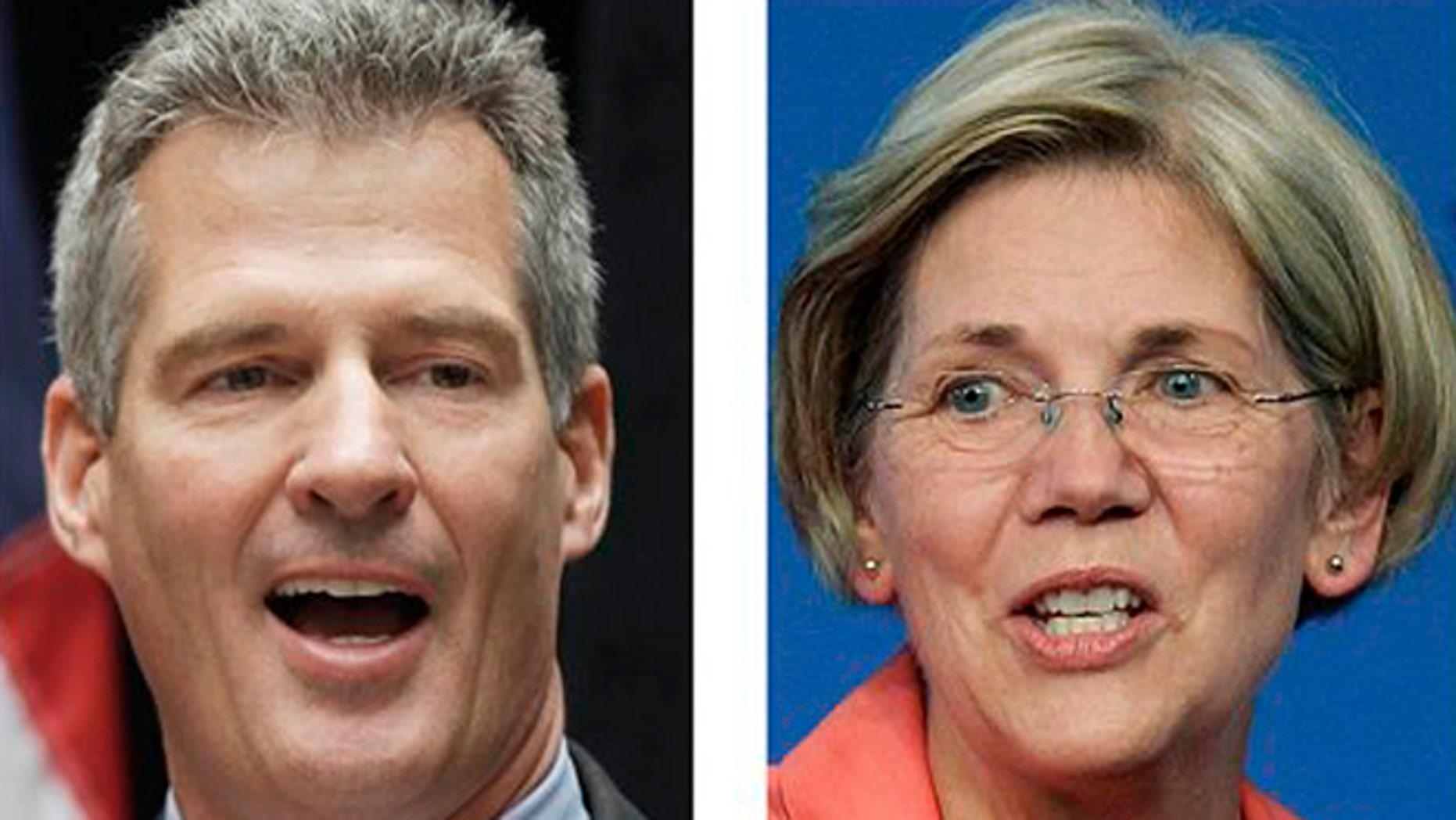 FILE: 2012: Incumbent U.S. Sen. Scott Brown, R-Mass., left, and Democratic challenger Elizabeth Warren, in Boston.