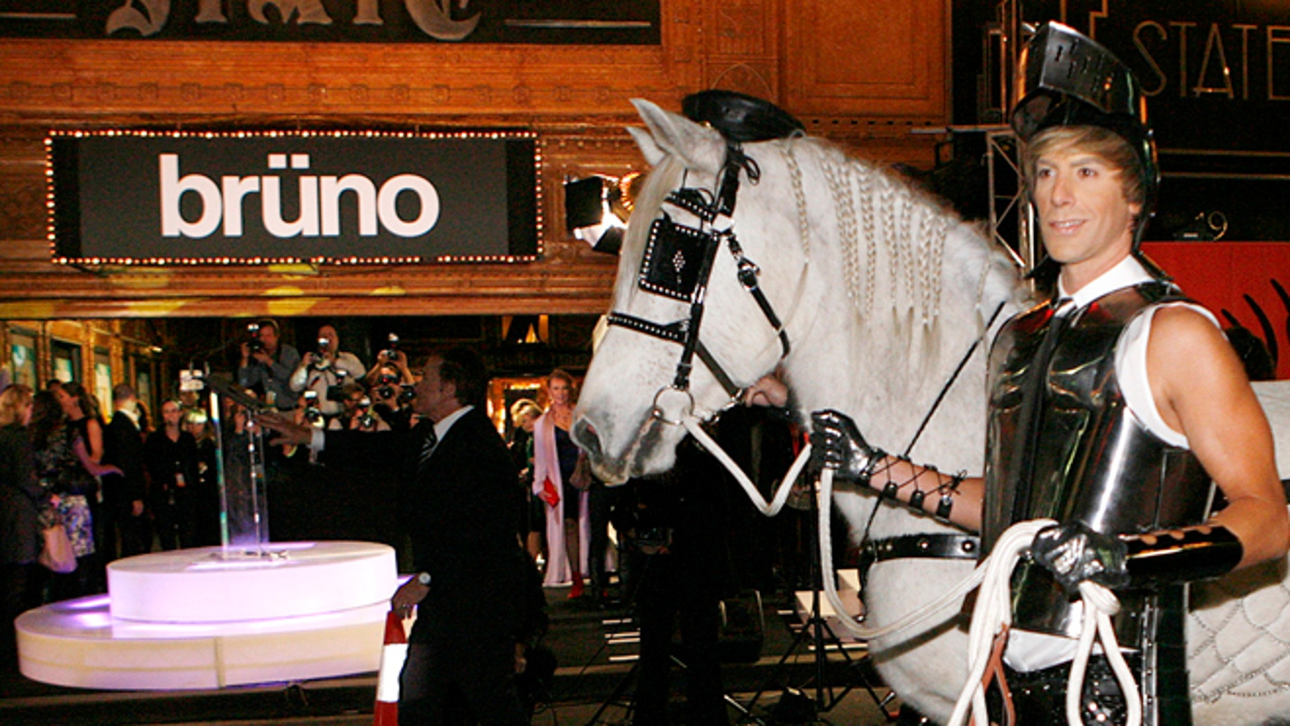 "June 29, 2009: British actor Sacha Baron Cohen arrives with a horse for the Australian premiere of his new film ""Bruno"" in Sydney."