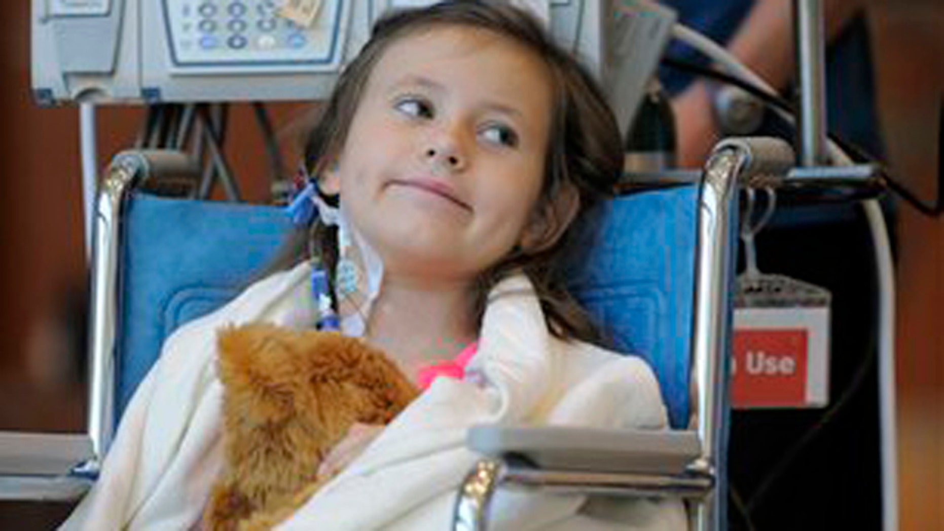 Sept. 5, 2012: Seven-year-old Sierra Jane Downing from Pagosa Springs, Colo., smiles during a news conference about her recovery from bubonic plague at the Rocky Mountain Hospital for Children at Presbyterian/St. Luke's.