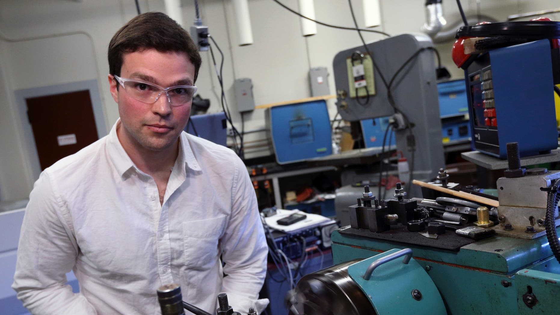 March 15, 2013: Massachusetts Institute of Technology doctoral candidate in mechanical engineering Nikolai Begg poses in an MIT workshop in Cambridge, Mass.