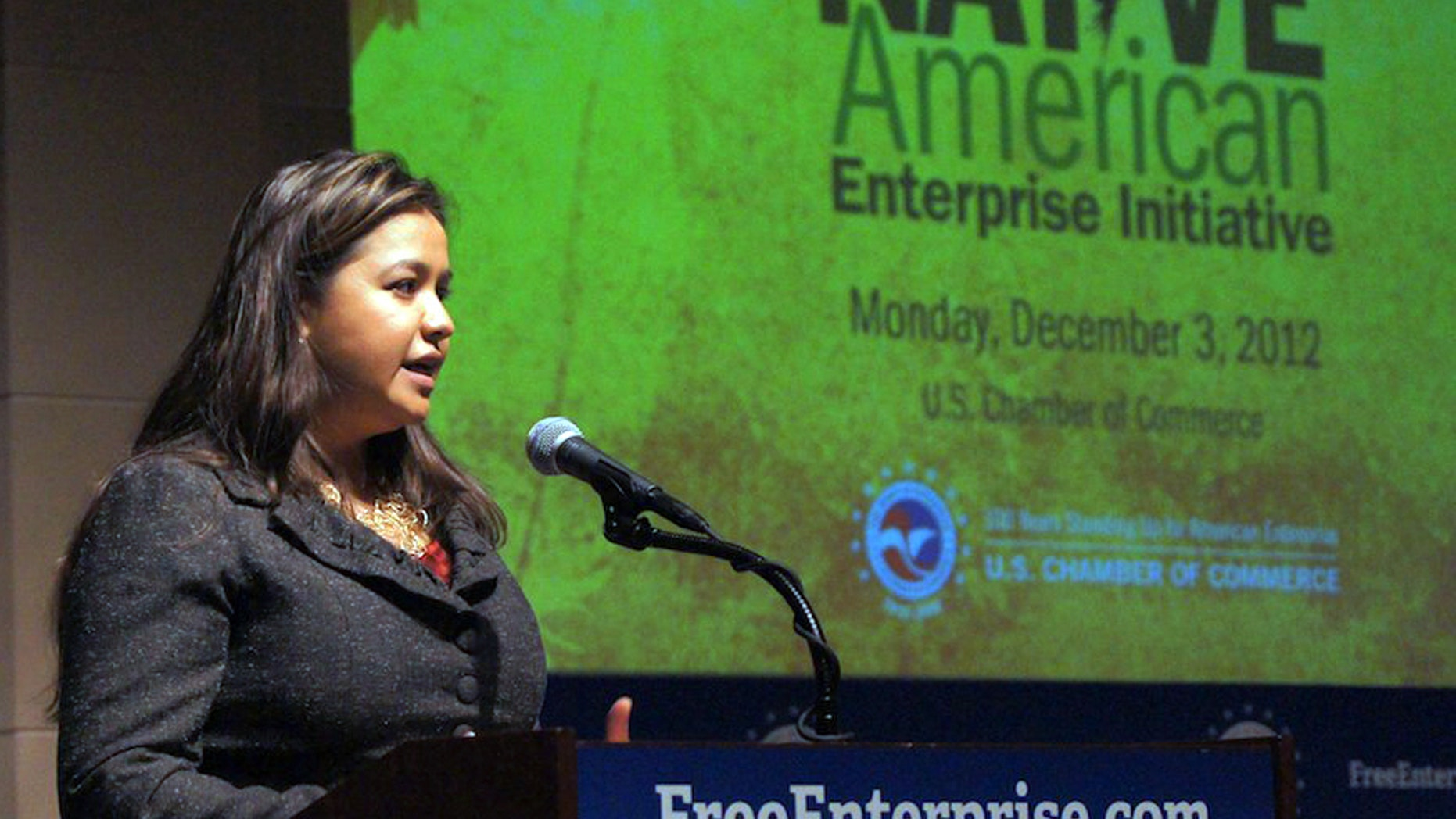 Dec. 3, 2012: In this photo provided by the Navajo Nation Washington Office, Navajo Nation executive director Clara Pratte addresses economic development during the Navajo Nation meeting of the Native American Enterprise Initiative, in Washington.