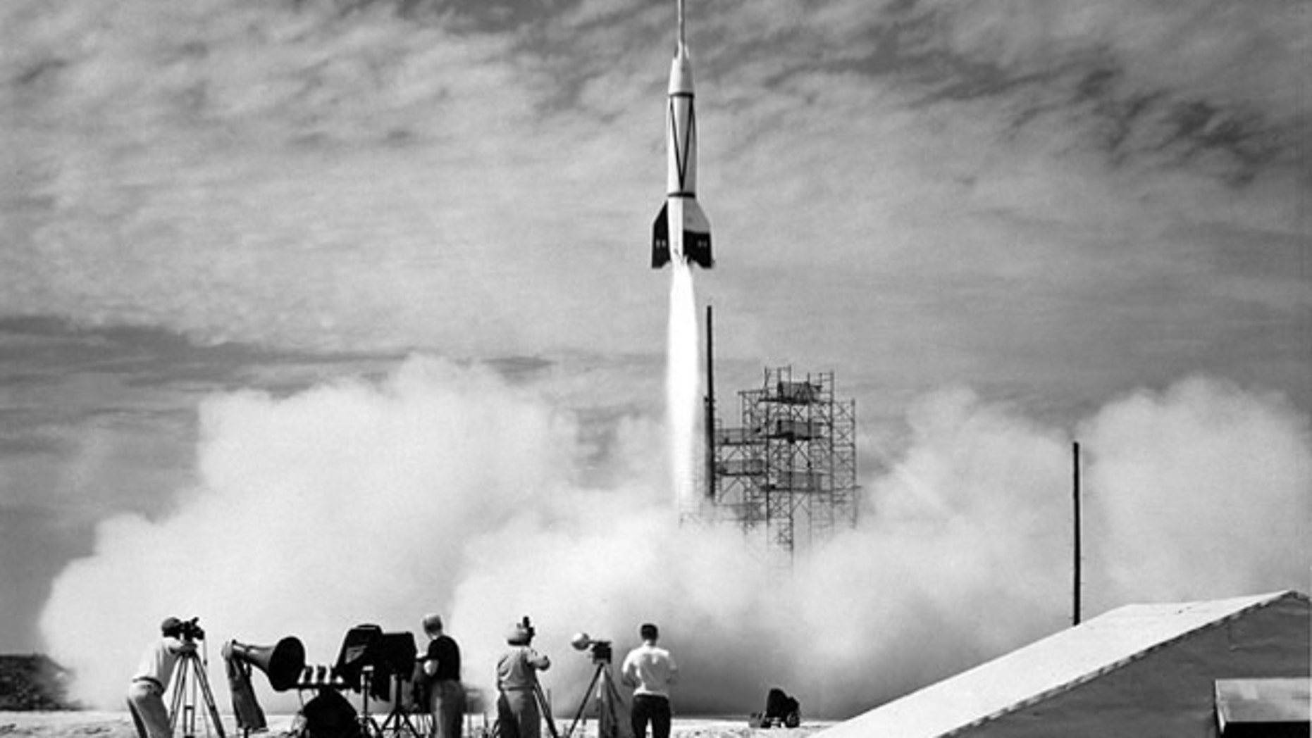 Bumper 8 lifts off on July 24, 1950 from the Long Range Proving Grounds in Cape Canaveral, Florida.