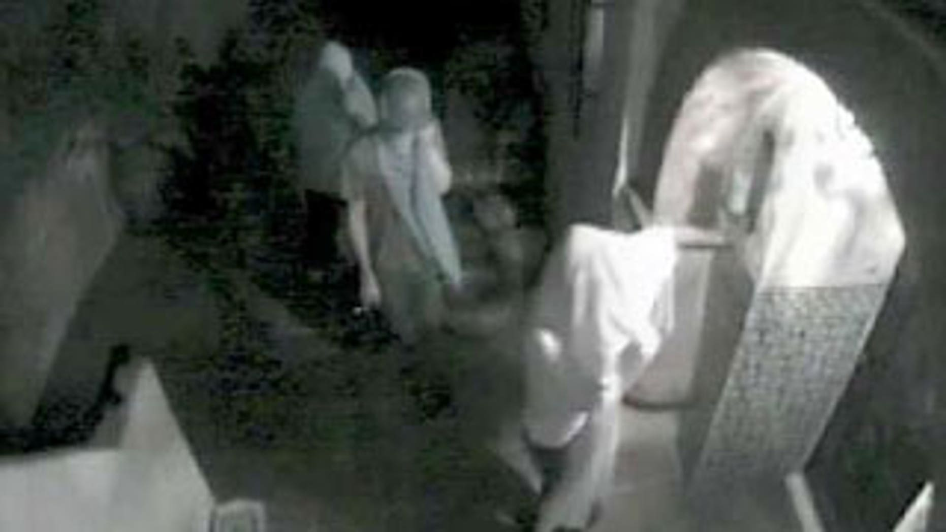 A video still from a surveillance camera provided by the Los Angeles Police Department shows three suspects attempting to enter the Hollywood Hills home of actress Lindsay Lohan in August 2009 in Los Angeles.