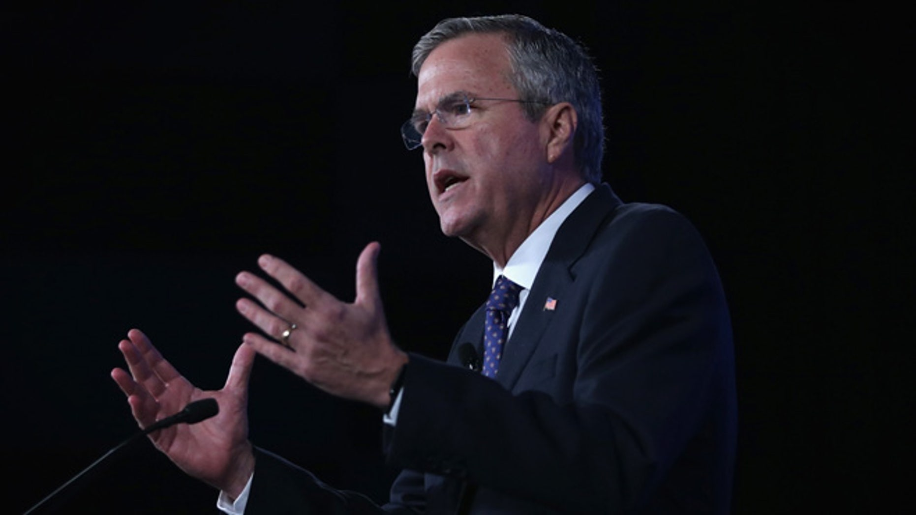 OKLAHOMA CITY, OK - MAY 22:  Republican presidential hopeful and former Florida Governor Jeb Bush speaks during the 2015 Southern Republican Leadership Conference May 22, 2015 in Oklahoma City, Oklahoma. About a dozen possible presidential candidates will join the conference and lobby for supports from Republican voters.  (Photo by Alex Wong/Getty Images)
