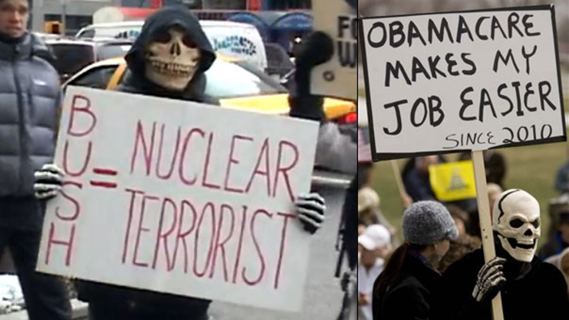 Brand new president, same old get-up: A protester, at left, carries a sign opposing President Bush in 2003; another opposes President Obama in 2010.