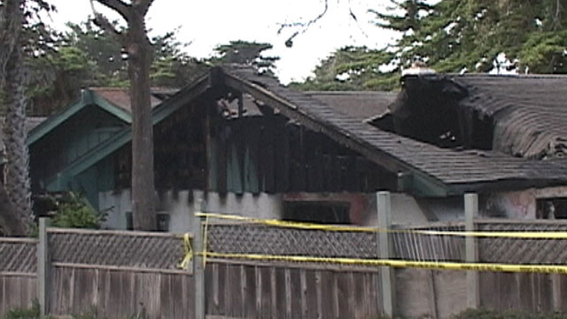 November 6, 2011: This image, made from video, provided by KSBW-TV shows damage caused by a late Saturday night fire at a home care facility for the disabled in Marina, a small coastal community in Monterey County south of San Francisco.