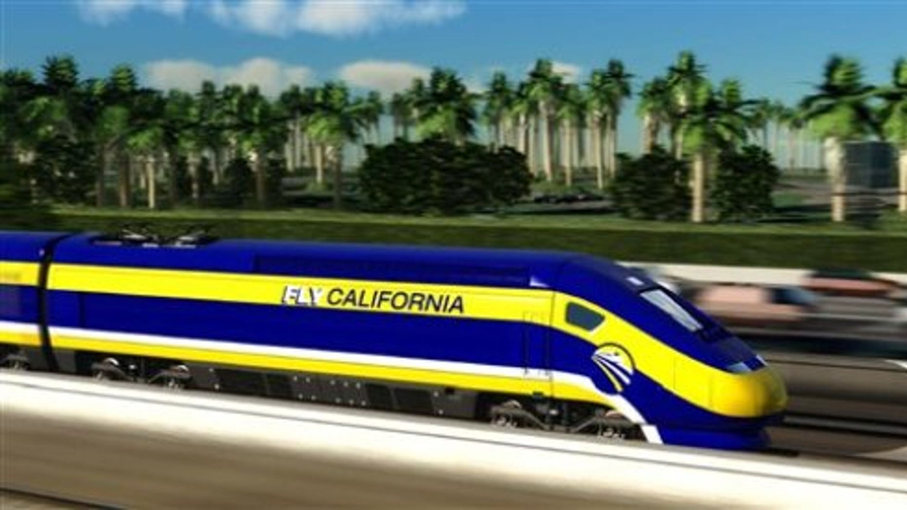 This image provided by the California High-Speed Rail Authority shows an artist's conception of a high-speed rail car in California. (AP Photo/California High-Speed Rail Authority)