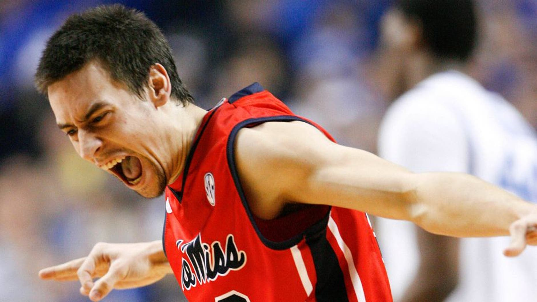 Feb 4, 2014; Lexington, KY, USA; Mississippi Rebels guard Marshall Henderson (22) reacts during the game against the Kentucky Wildcats at Rupp Arena. Mandatory Credit: Mark Zerof-USA TODAY Sports
