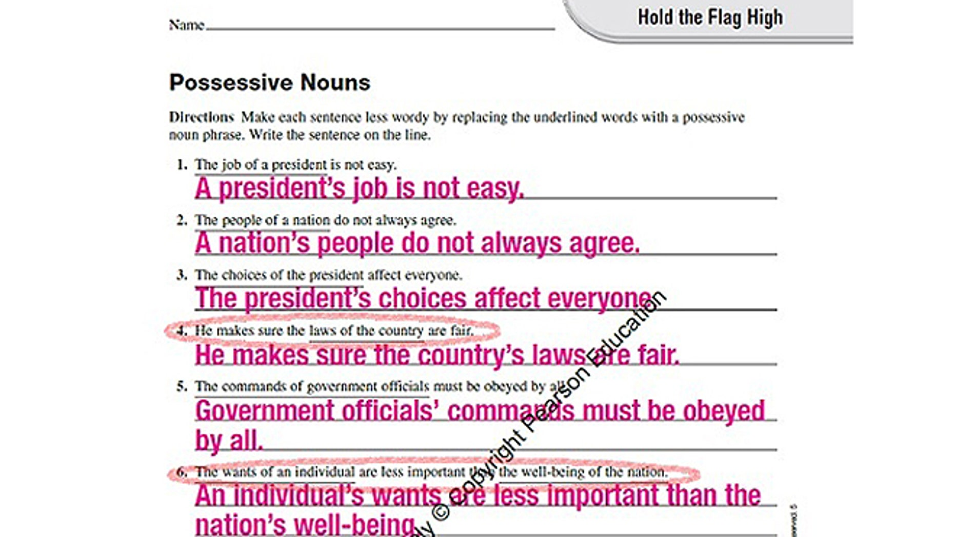 In this worksheet, certain questions are misleading students on the basics of the US political system. Pearson Education, who produced this lesson worksheet told FoxNews.com that they are reviewing the worksheets and will make necessary changes for future copies.