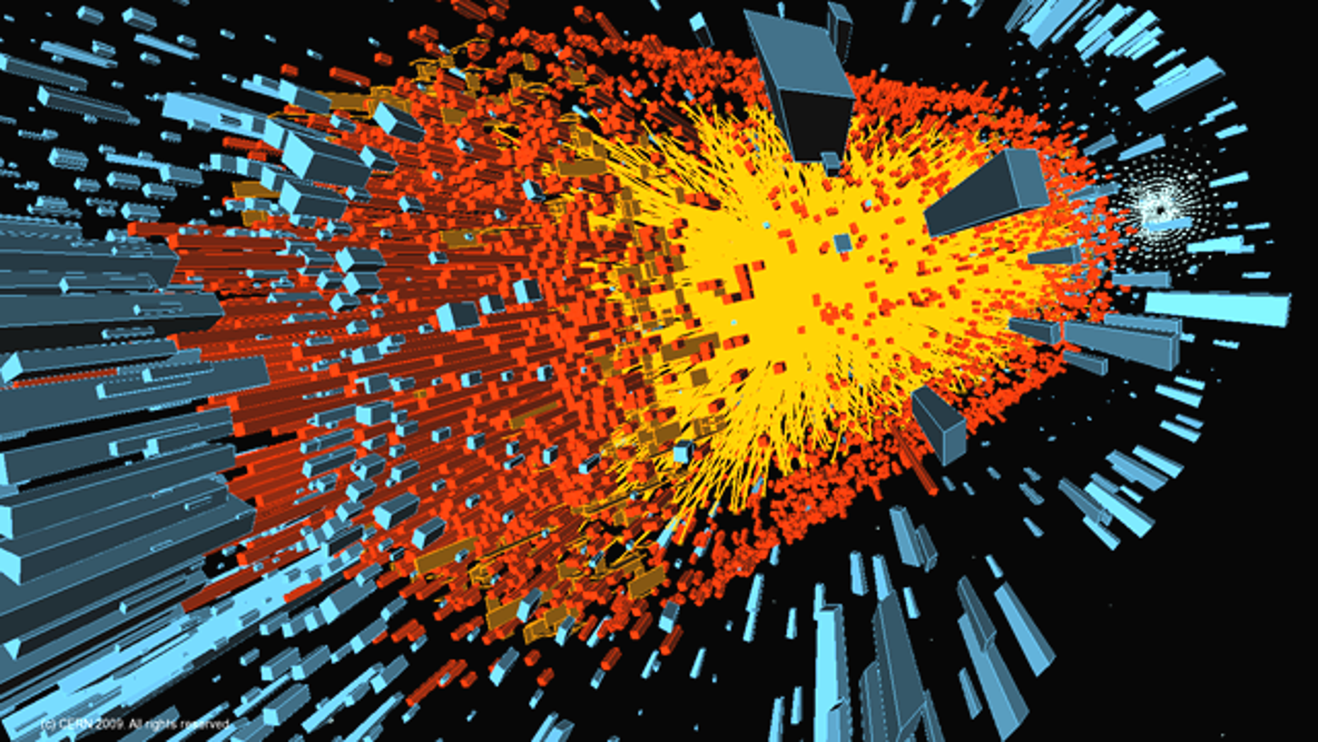 A computer simulation of the first lead ion collision in the Large Hadron Collider, a simulation of the events immediately after the Big Bang.