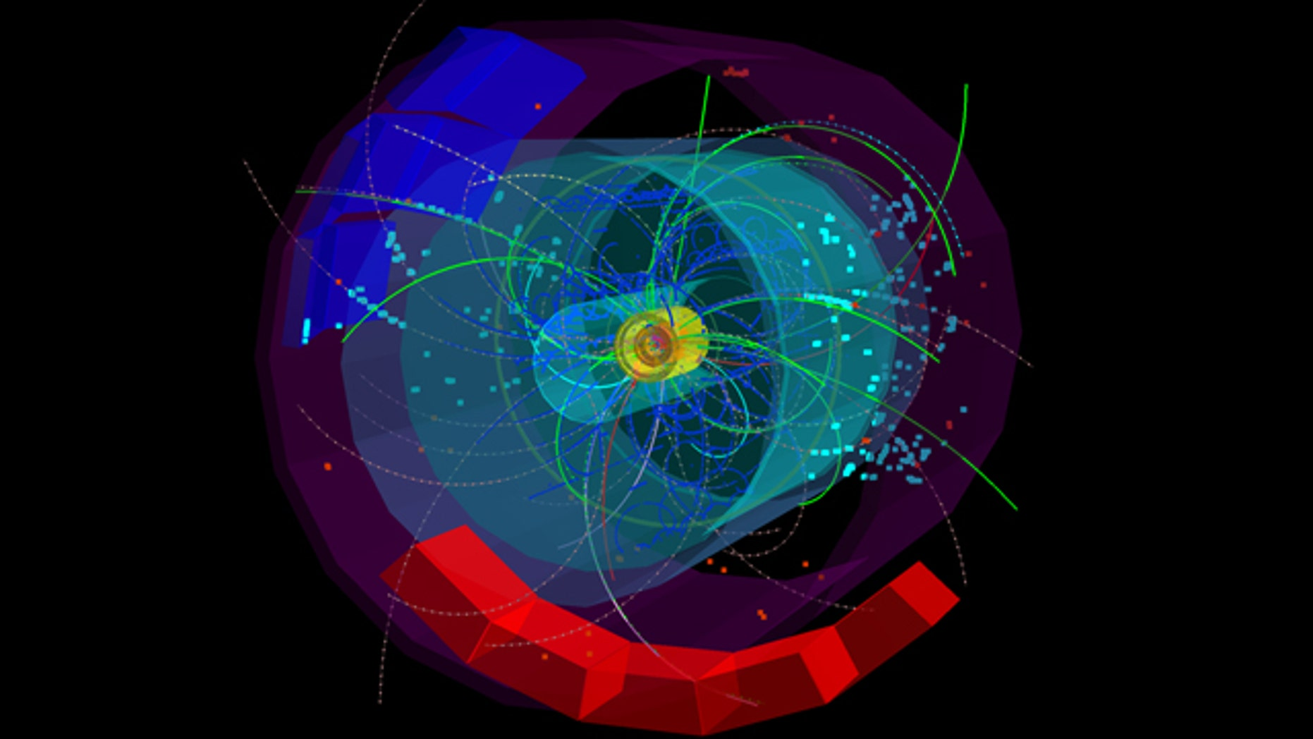 Particle tracks fly out from the heart of the one of the first collisions in the Large Hadron Collider at a total energy of 7 TeV.