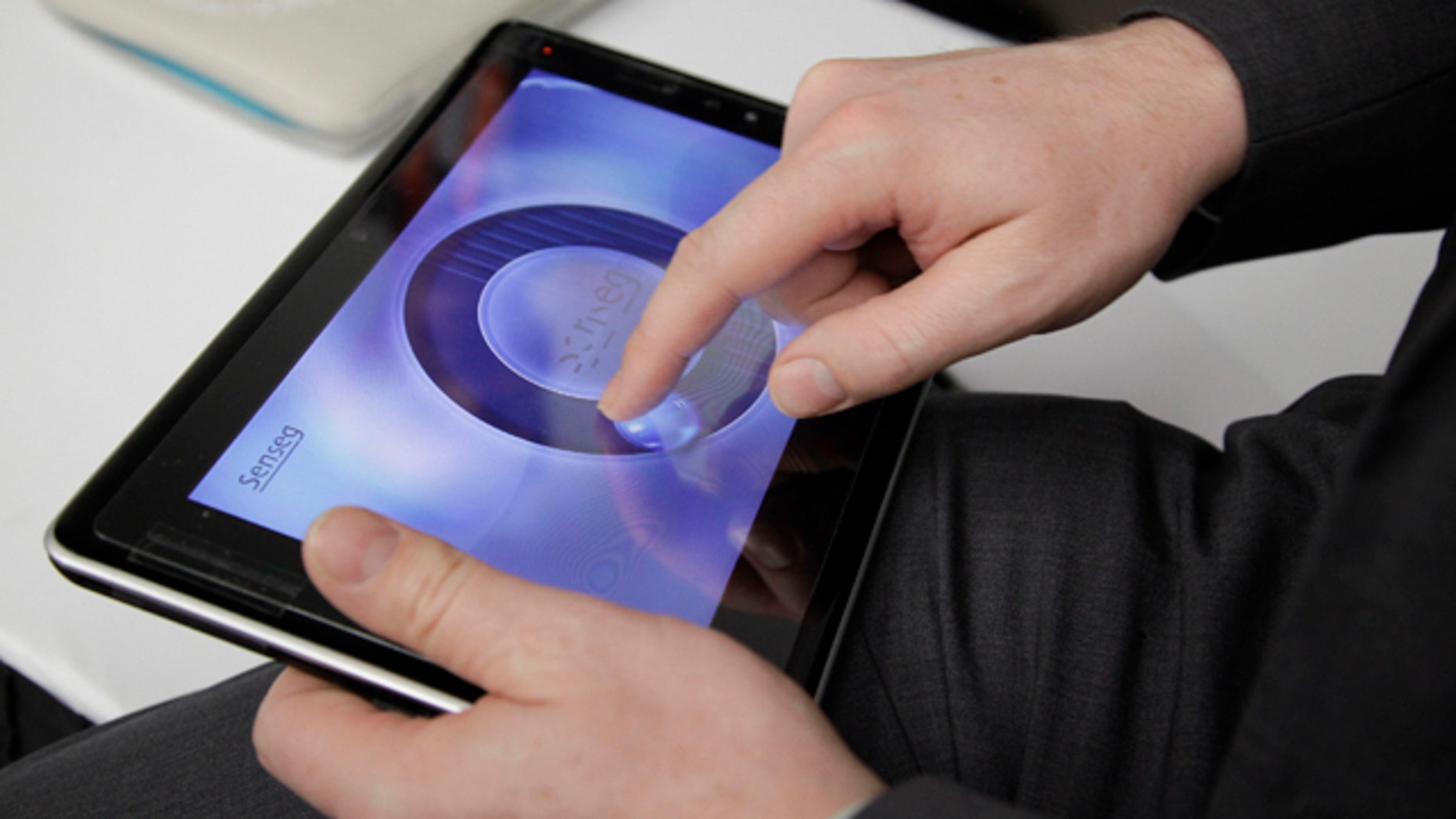 Jan. 11, 2012: A tablet made by Senseg is demonstrated at the 2012 International CES tradeshow in Las Vegas. The tablet gives the user tactile feedback at the touch of the screen.
