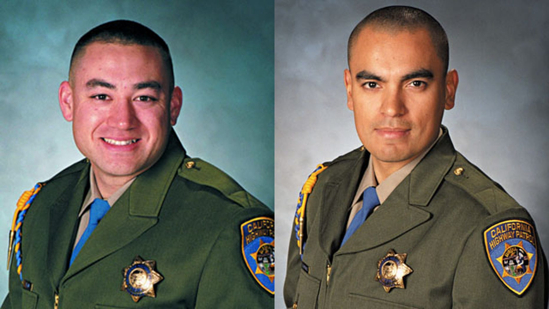 February 17, 2014: These photos show California Highway Patrol Officers Brian Law and Juan Gonzalez. The CHP was mourning the loss of the two officers after their squad car flipped over while responding to a multi-vehicle crash. (AP Photo/California Highway Patrol)