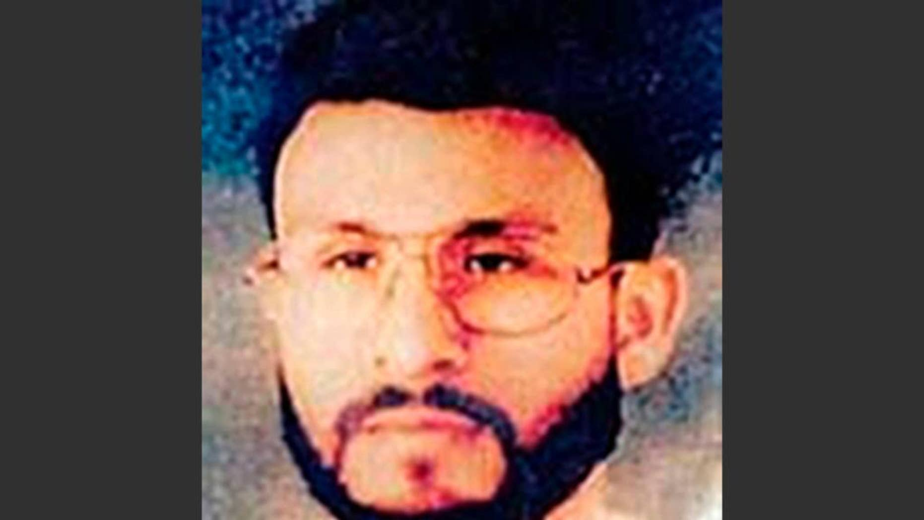FILE - This undated file photo provided by U.S. Central Command shows Abu Zubaydah at an unknown location. Zubaydah was the CIA's guinea pig. He was the first high-profile al Qaida terror suspect captured after the Sept. 11 attacks and the first to vanish into the spy agency's secret prisons, the first subjected to grinding white noise and sleep deprivation tactics and the first to gasp under the simulated drowning of waterboarding. Zubaydah's stark ordeal became the CIA's blueprint for the brutal treatment of terror suspects, according to the Senate Intelligence Committee's report released Tuesday. (AP Photo/U.S. Central Command, File)