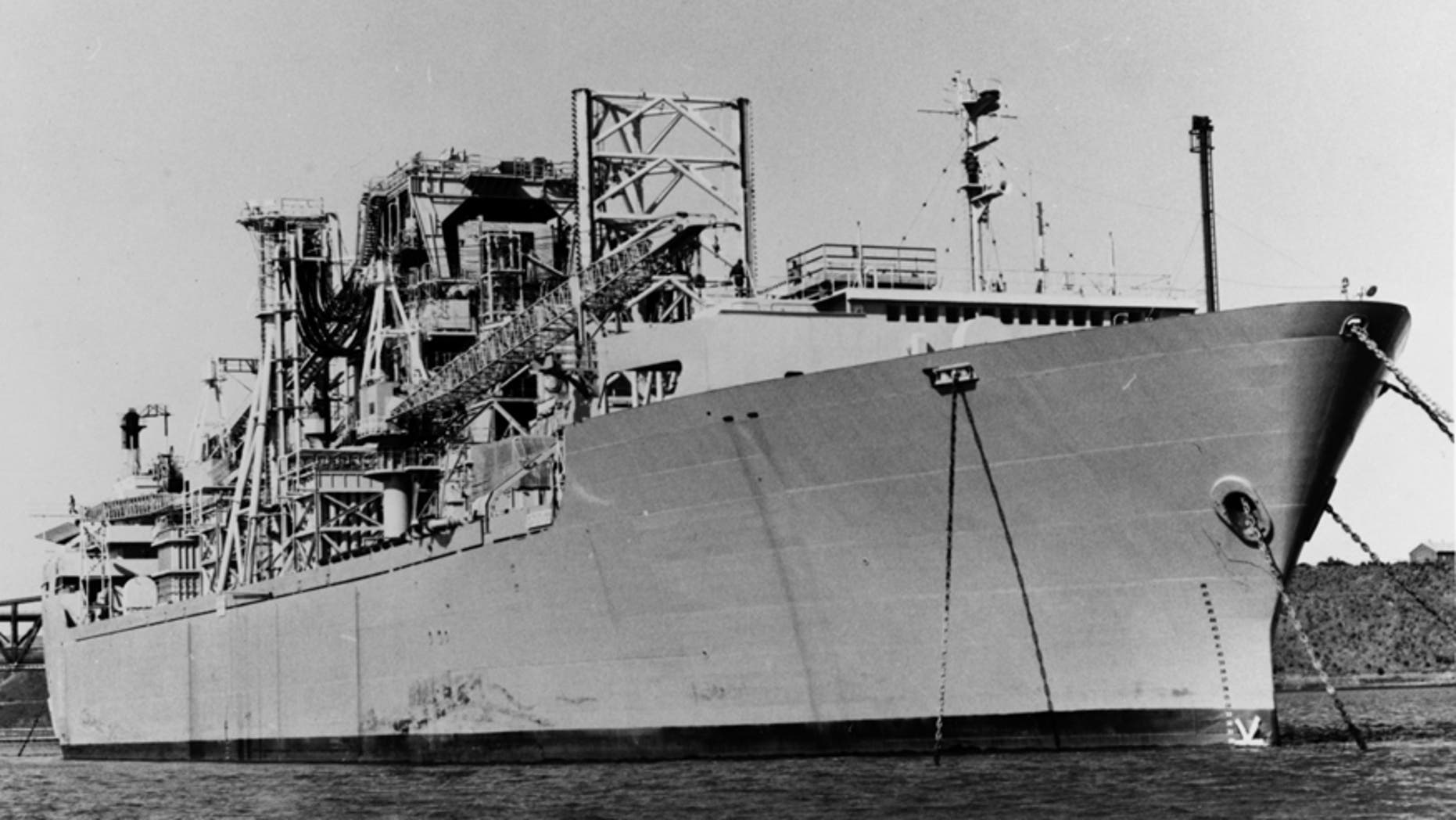 File photo - The Glomar Explorer ship is seen anchored in the U.S. Navy's National Defense Reserve Fleet anchored in Suisan Bay, California in this U.S. Navy handout file photo taken on May 15, 1977.