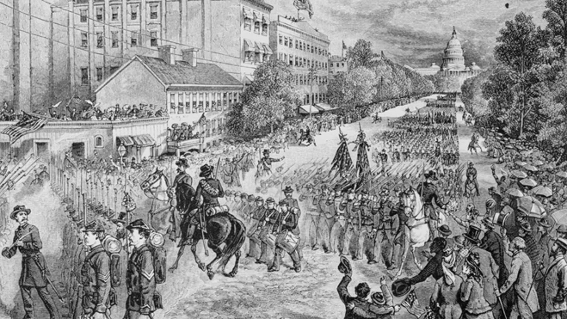 circa 1865:  The Union Army being disbanded at the end of the American Civil War.  (Photo by Hulton Archive/Getty Images)